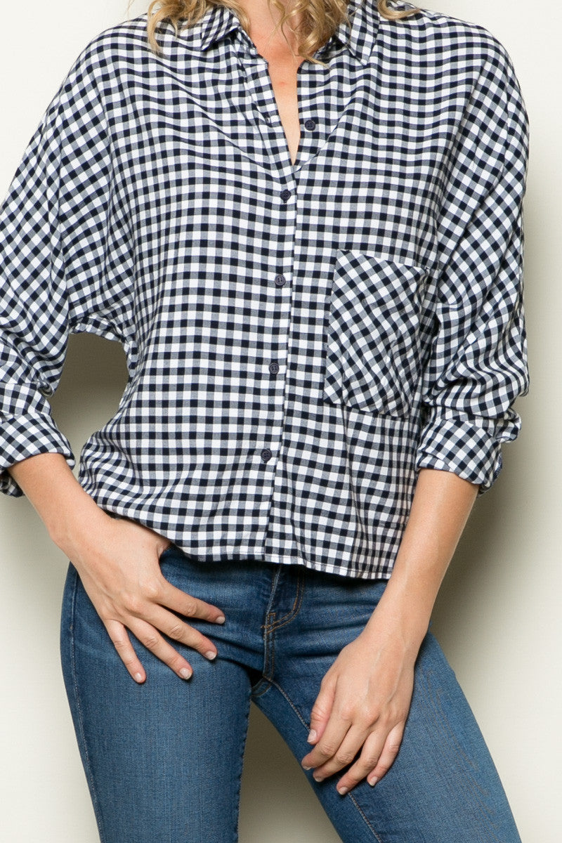 Gingham Shirt Navy White - Shirts - My Yuccie - 8