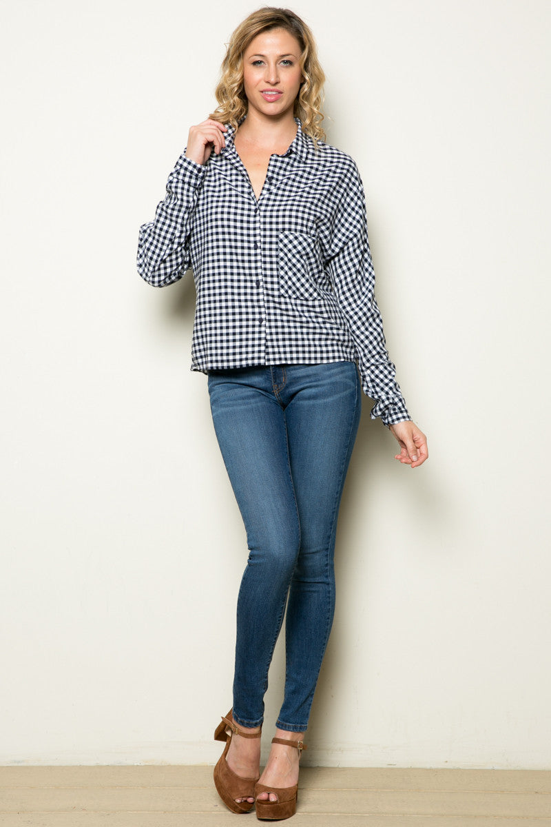 Gingham Shirt Navy White - Shirts - My Yuccie - 12