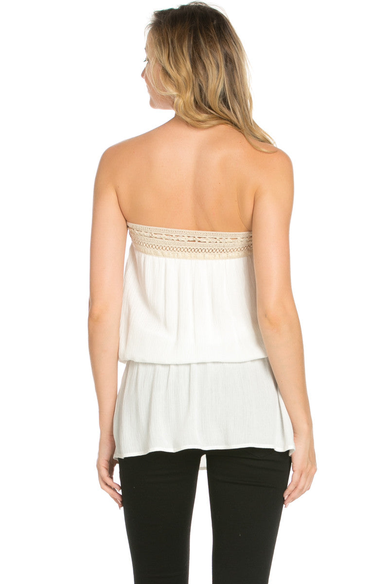 Crochet Trim White Tube Top - Tops - My Yuccie - 3