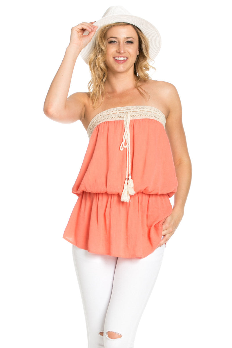 Crochet Trim Coral Tube Top - Tops - My Yuccie