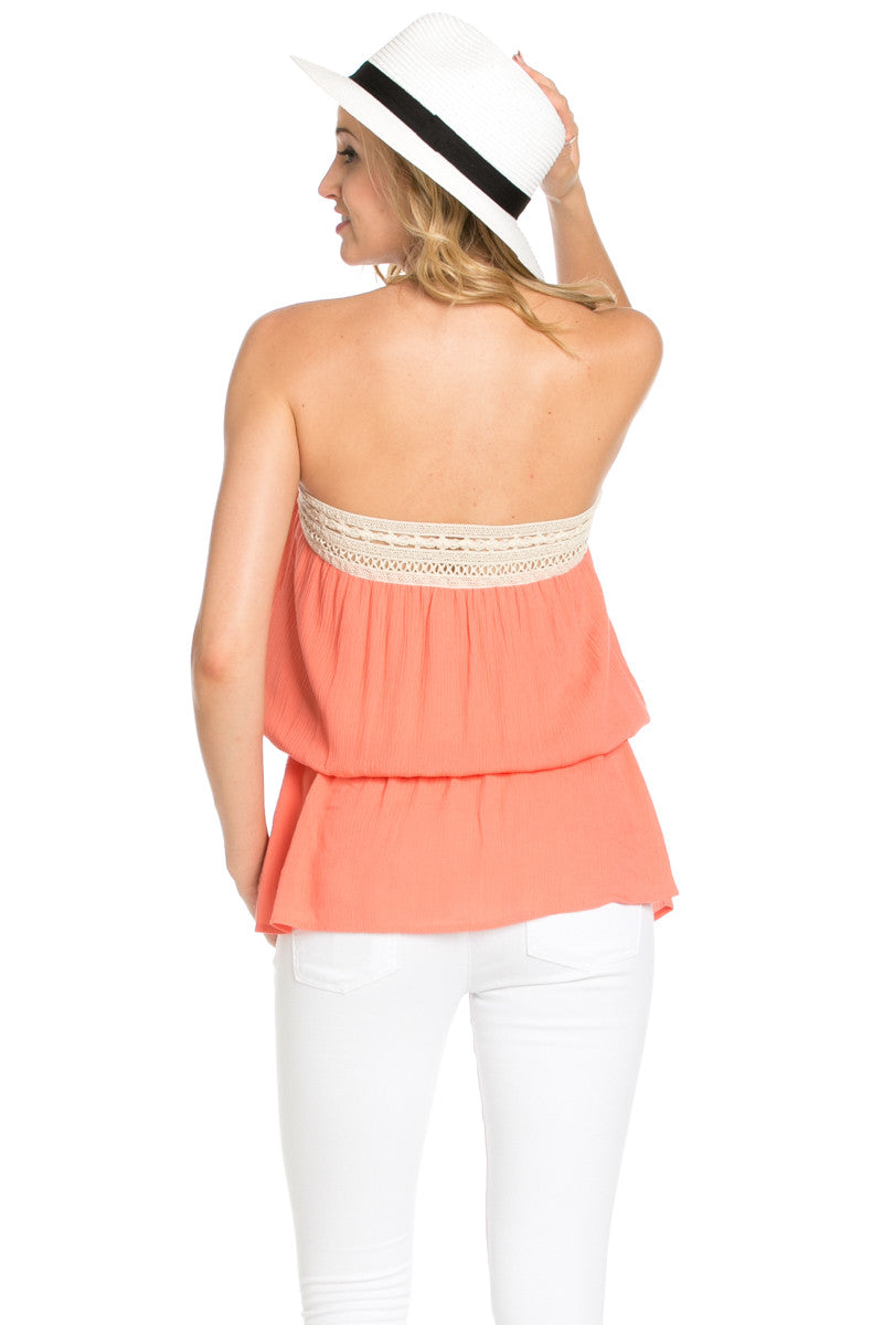 Crochet Trim Coral Tube Top - Tops - My Yuccie - 3