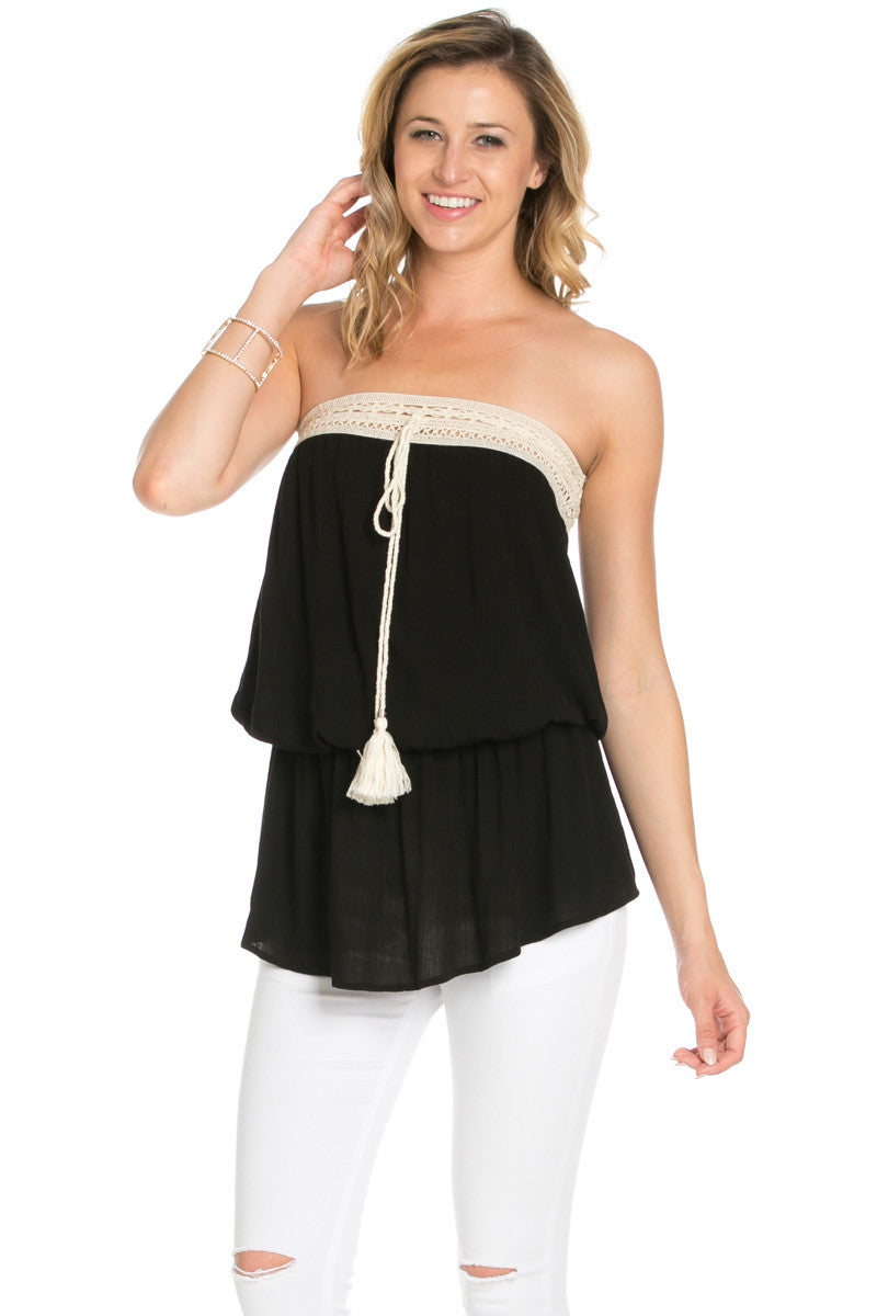 Crochet Trim Black Tube Top - Tops - My Yuccie - 1