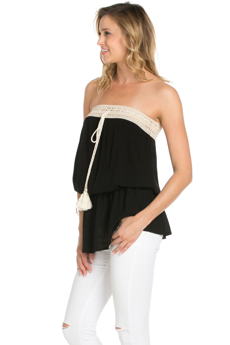 Crochet Trim Black Tube Top - Tops - My Yuccie - 2