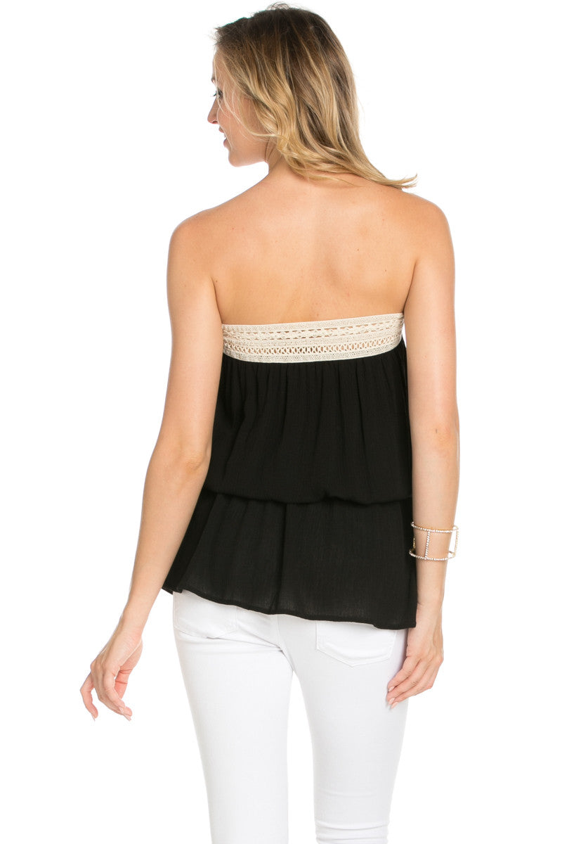 Crochet Trim Black Tube Top - Tops - My Yuccie - 3