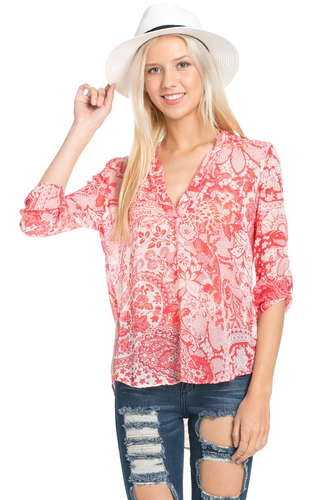 Red & White Henna Print Blouse - Tops - My Yuccie - 1