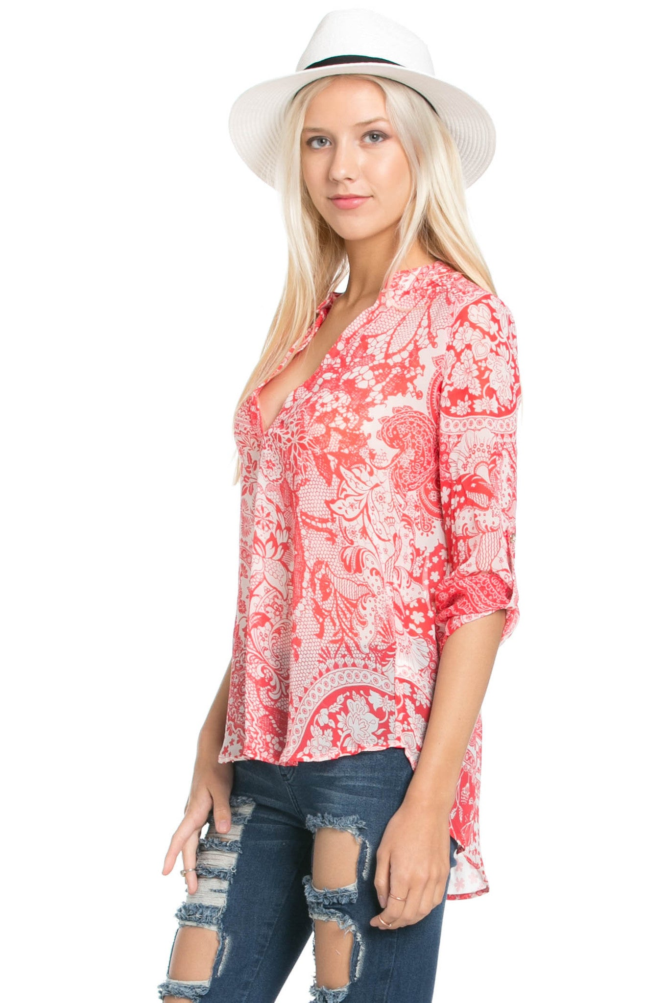 Red & White Henna Print Blouse - Tops - My Yuccie - 2