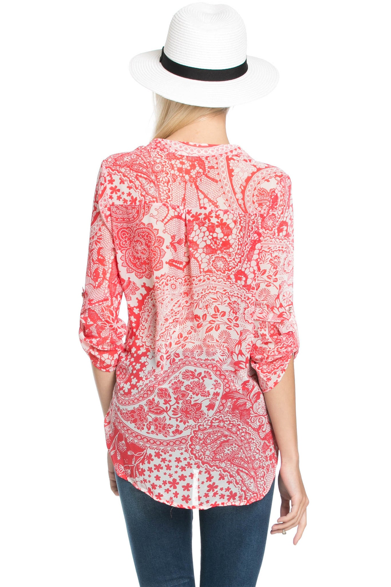 Red & White Henna Print Blouse - Tops - My Yuccie - 3