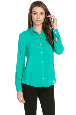 Button Up Shirt Aqua Green - Tops - My Yuccie - 1