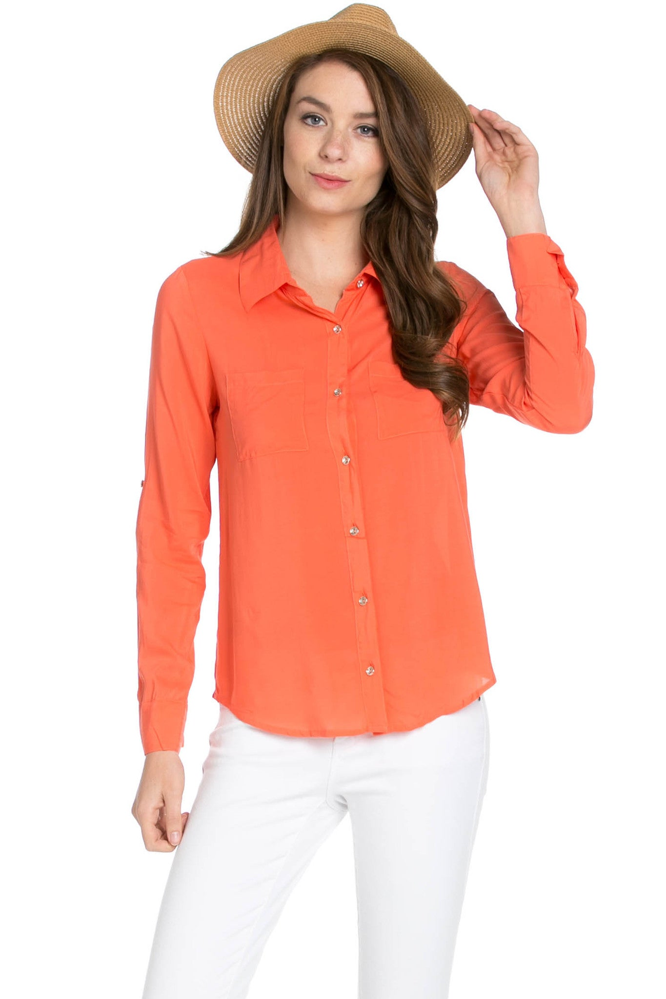 Button Up Shirt Coral - Tops - My Yuccie - 1