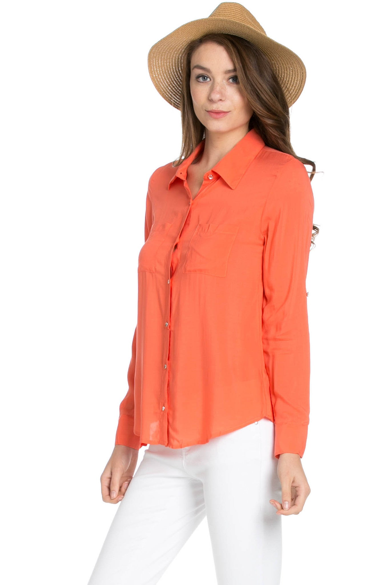 Button Up Shirt Coral - Tops - My Yuccie - 2