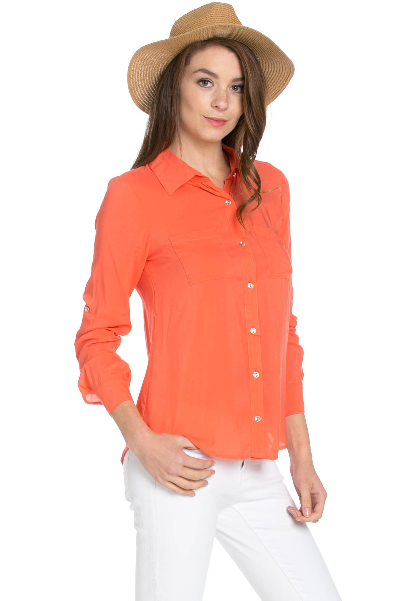 Button Up Shirt Coral - Tops - My Yuccie - 4
