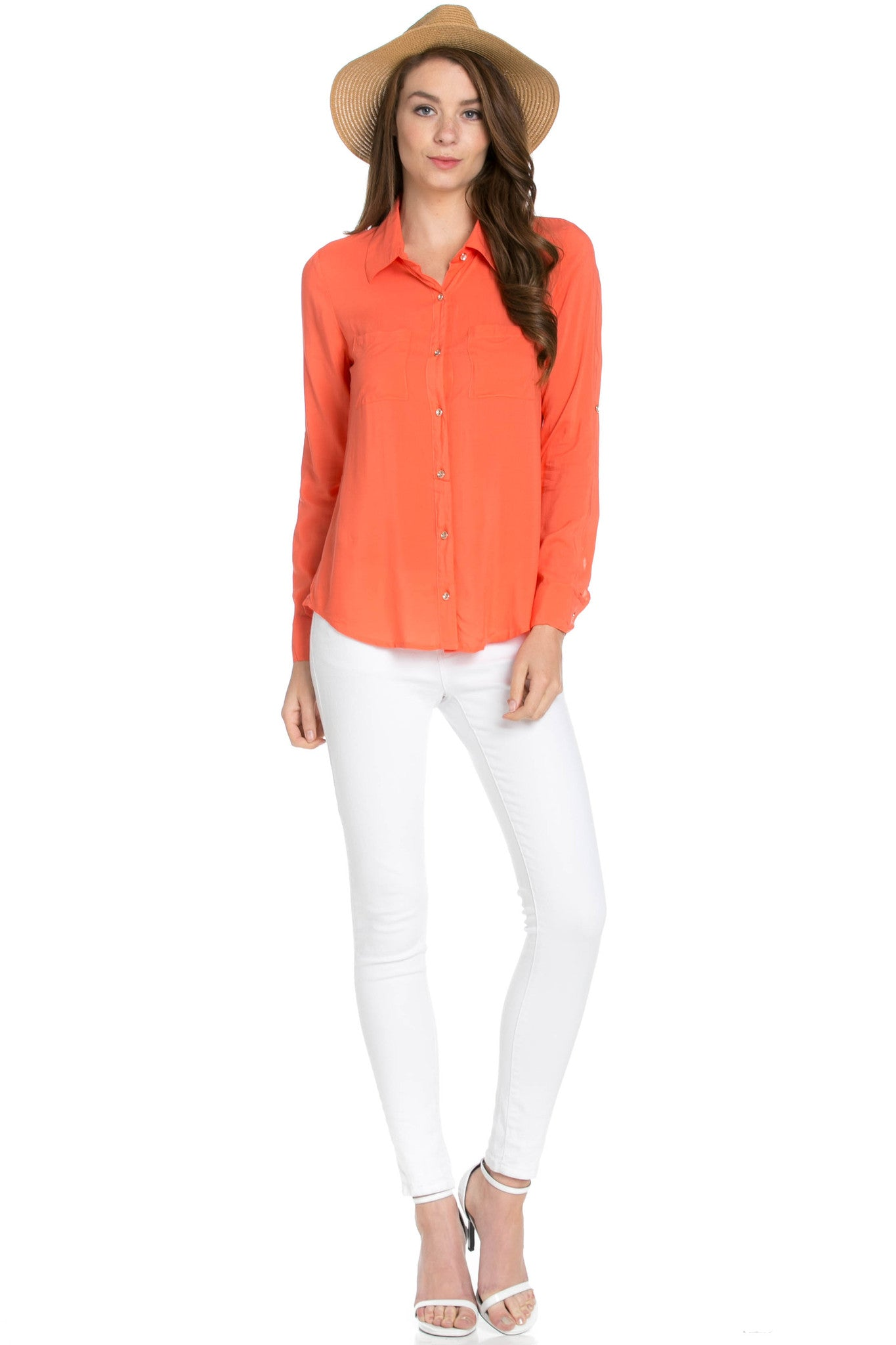 Button Up Shirt Coral - Tops - My Yuccie - 5