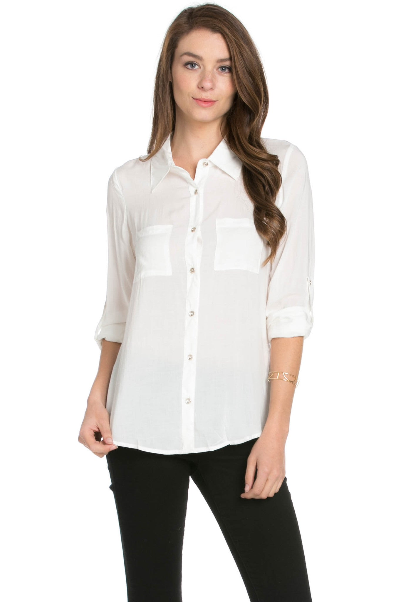 Button Up Shirt Ivory - Tops - My Yuccie - 1