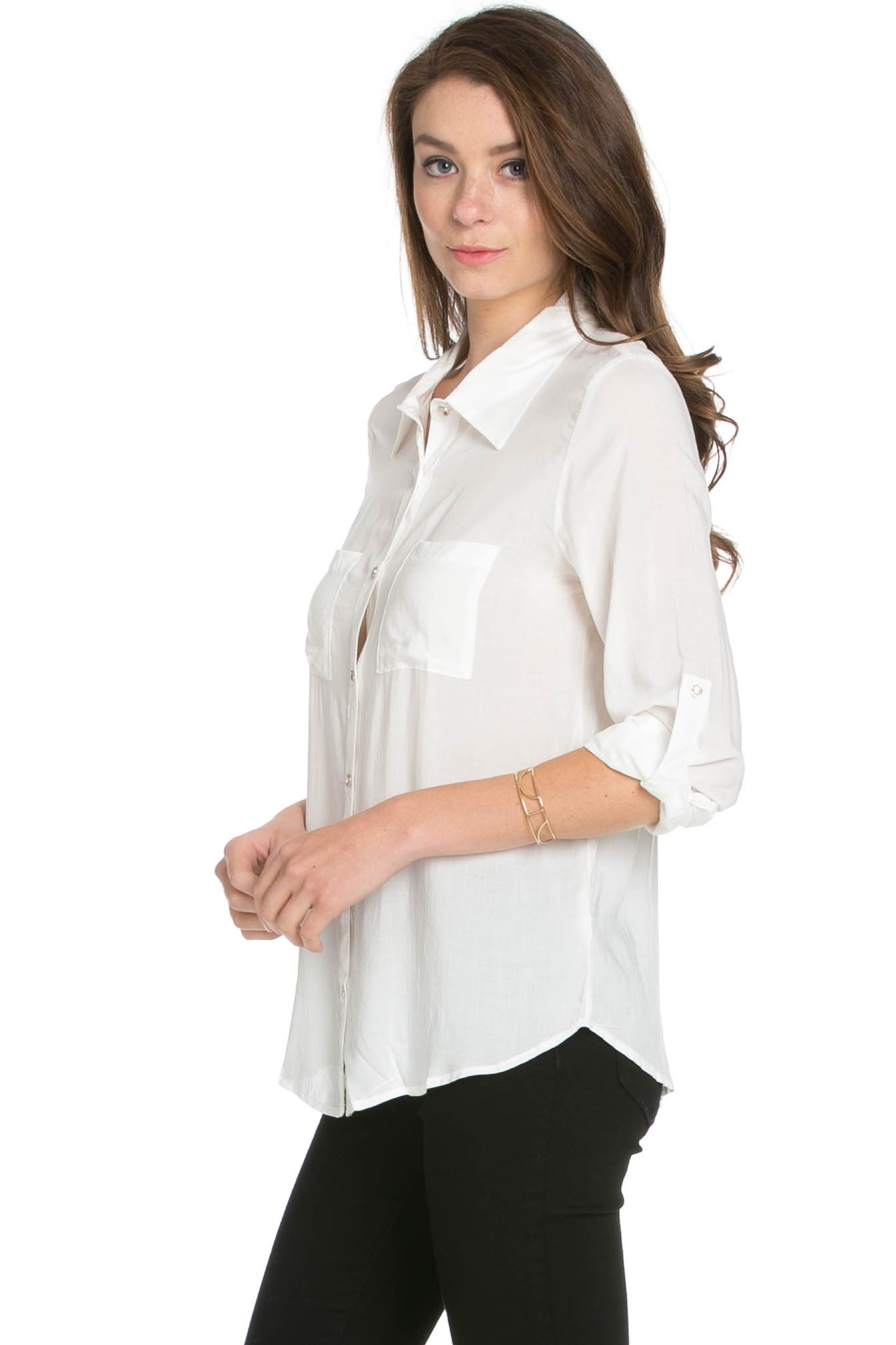 Button Up Shirt Ivory - Tops - My Yuccie - 2