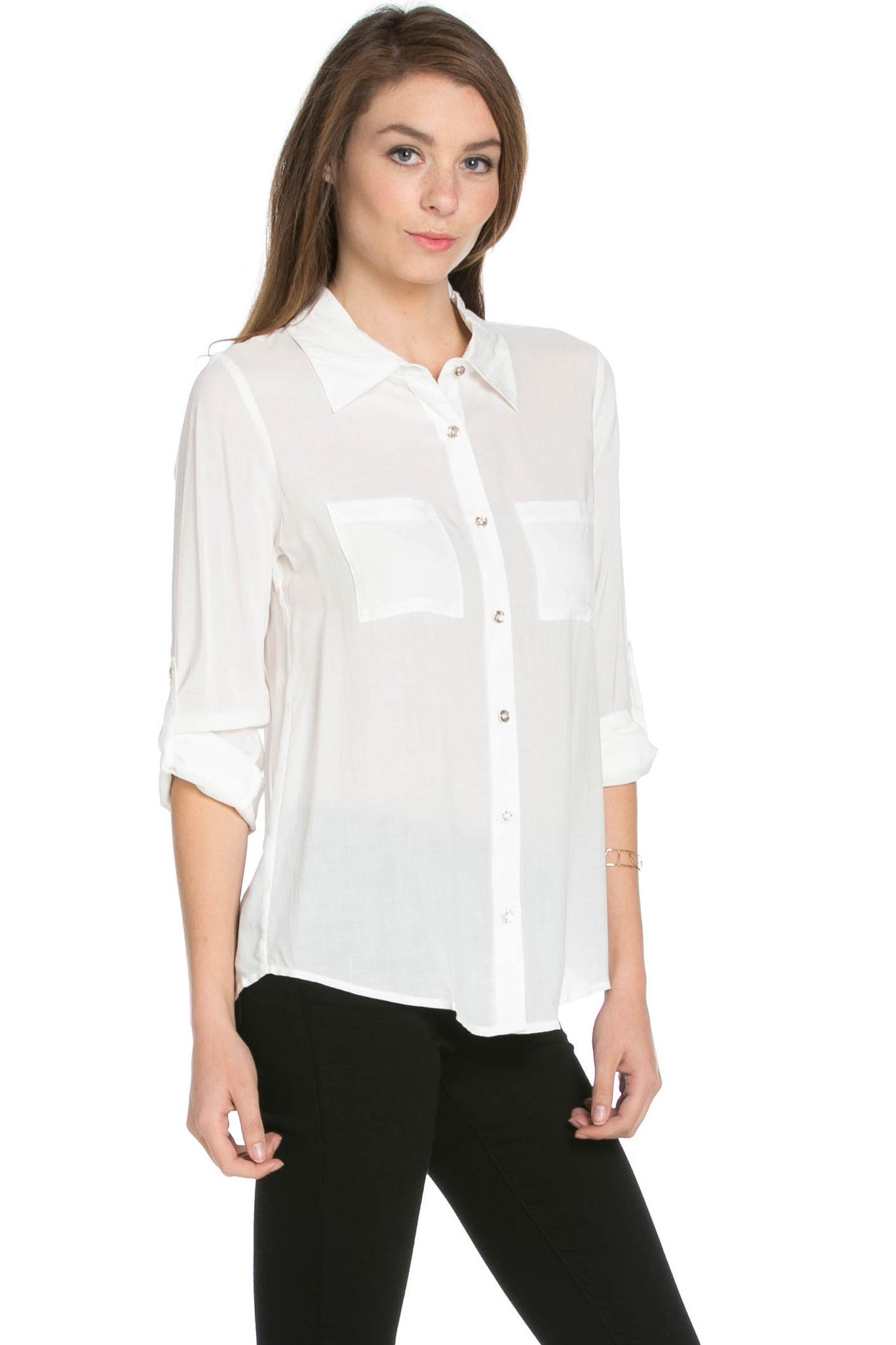 Button Up Shirt Ivory - Tops - My Yuccie - 4
