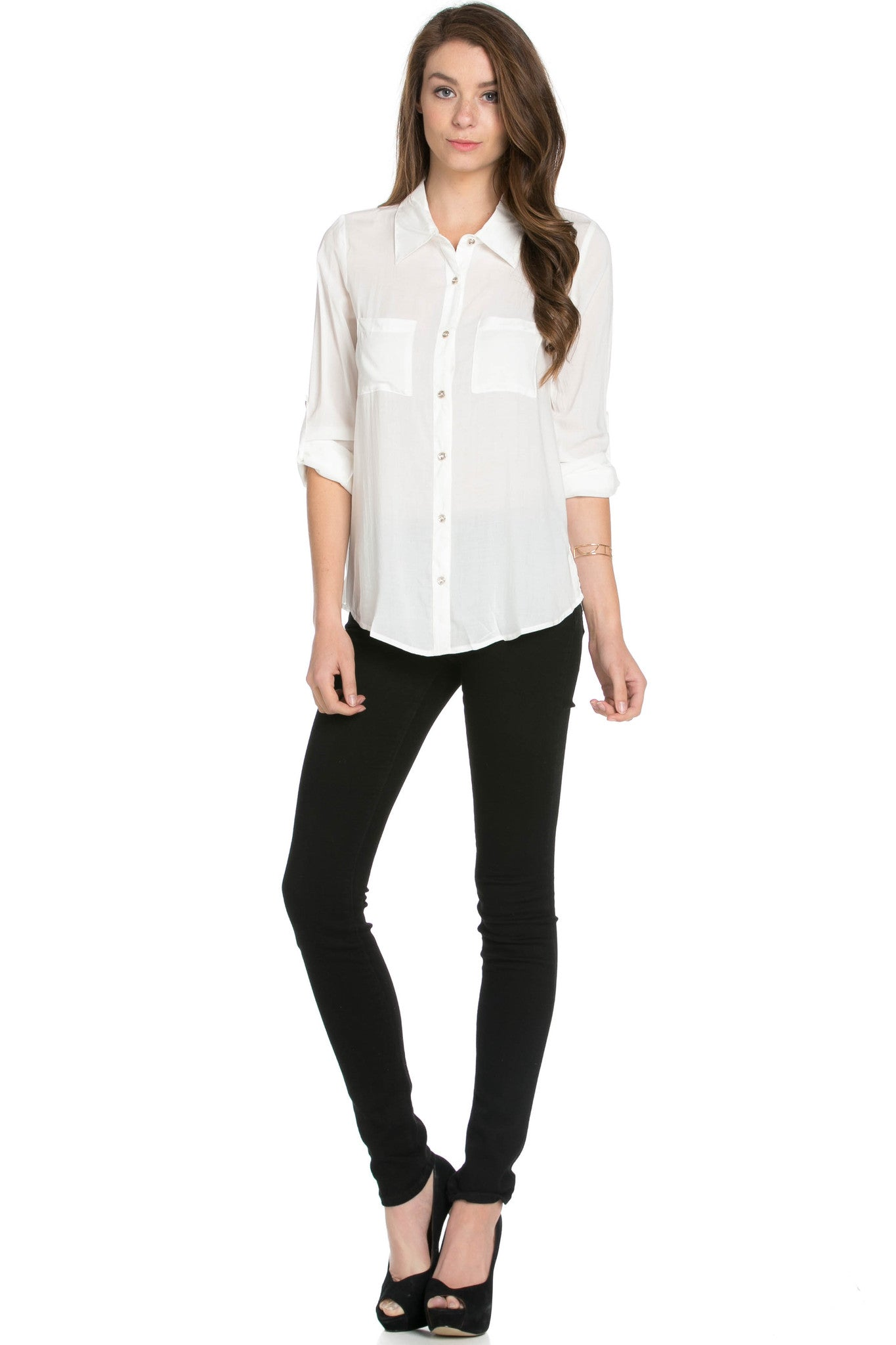 Button Up Shirt Ivory - Tops - My Yuccie - 5