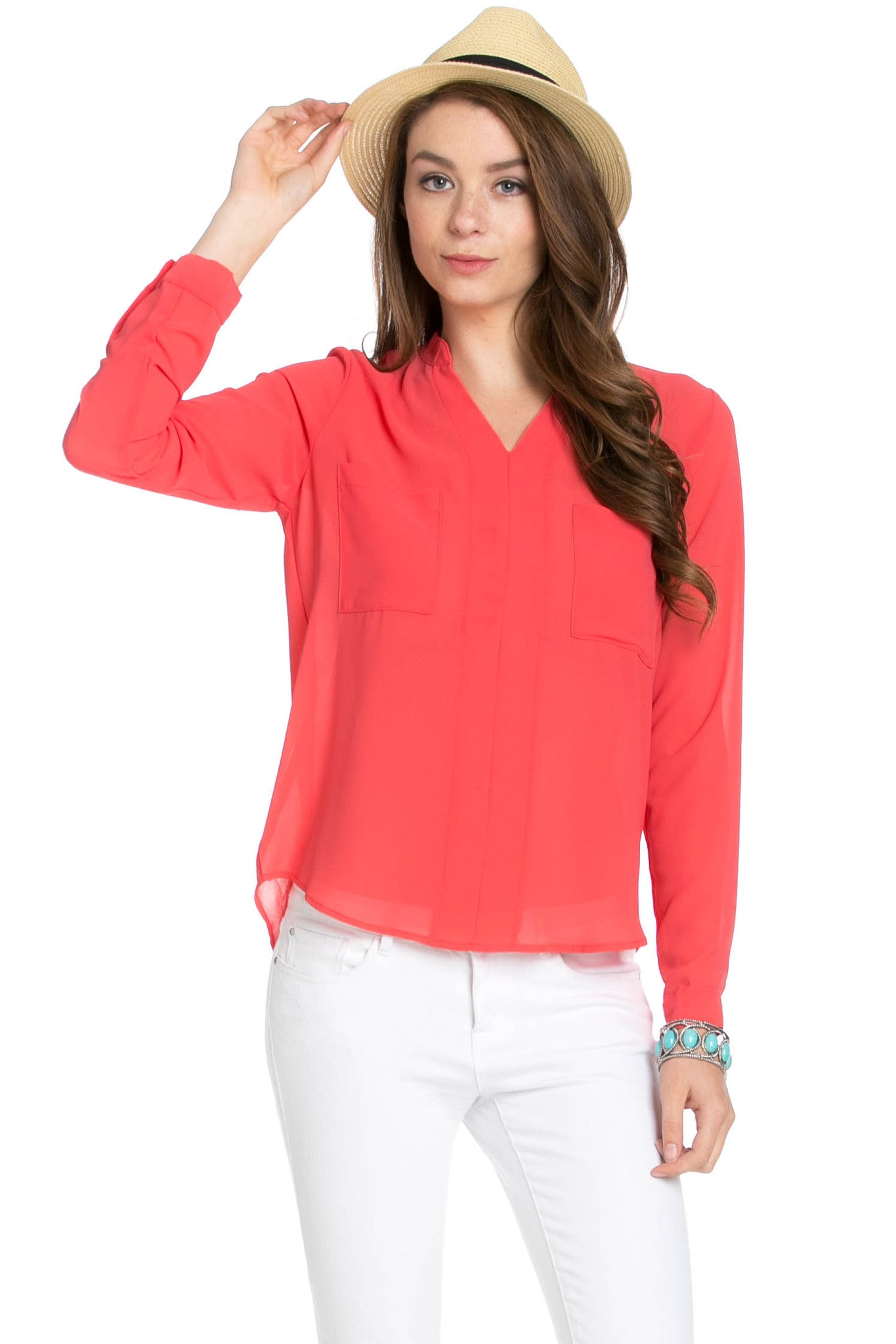 V-Neck Chiffon Blouse Coral - Tops - My Yuccie - 1
