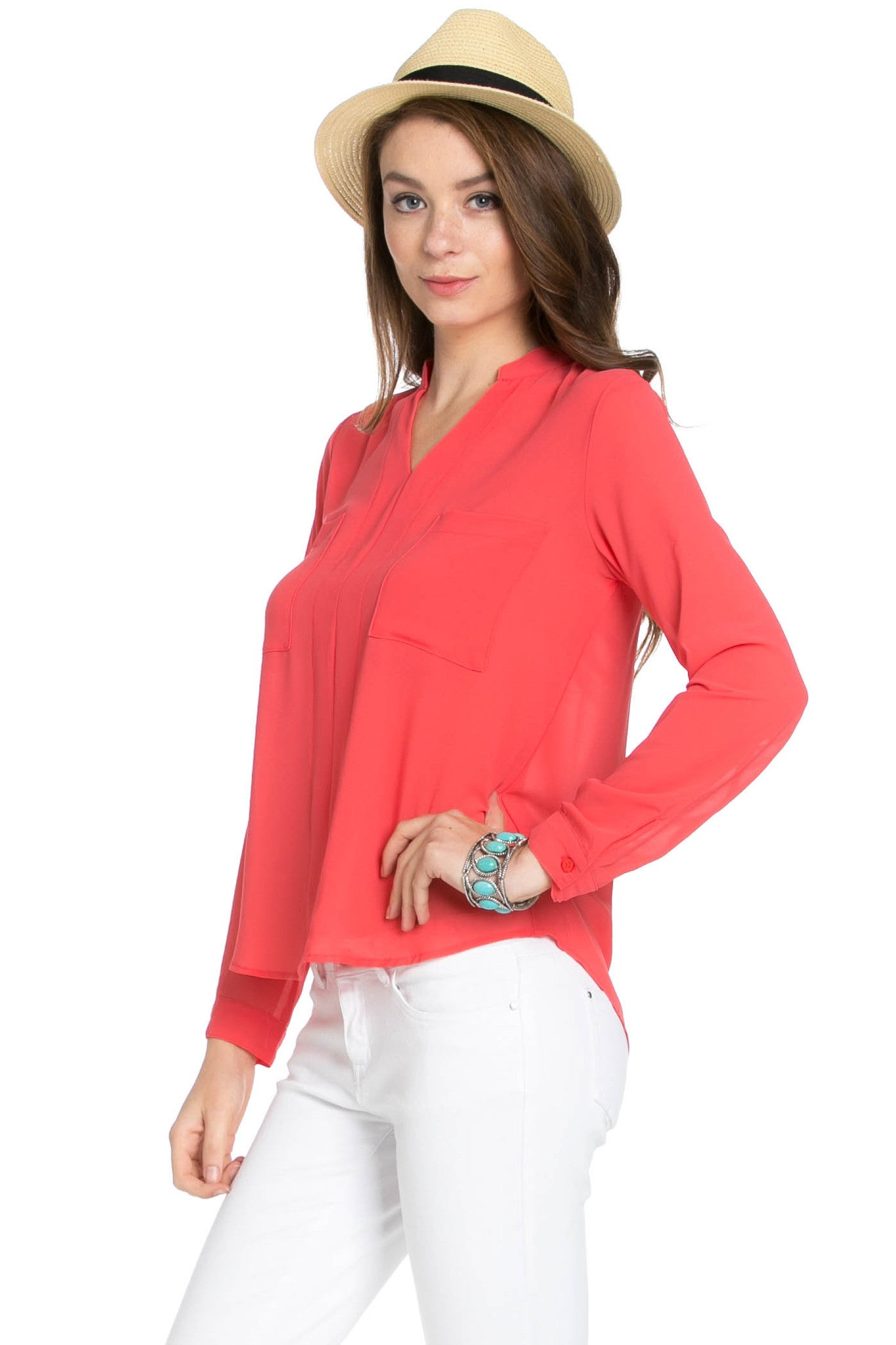 V-Neck Chiffon Blouse Coral - Tops - My Yuccie - 2