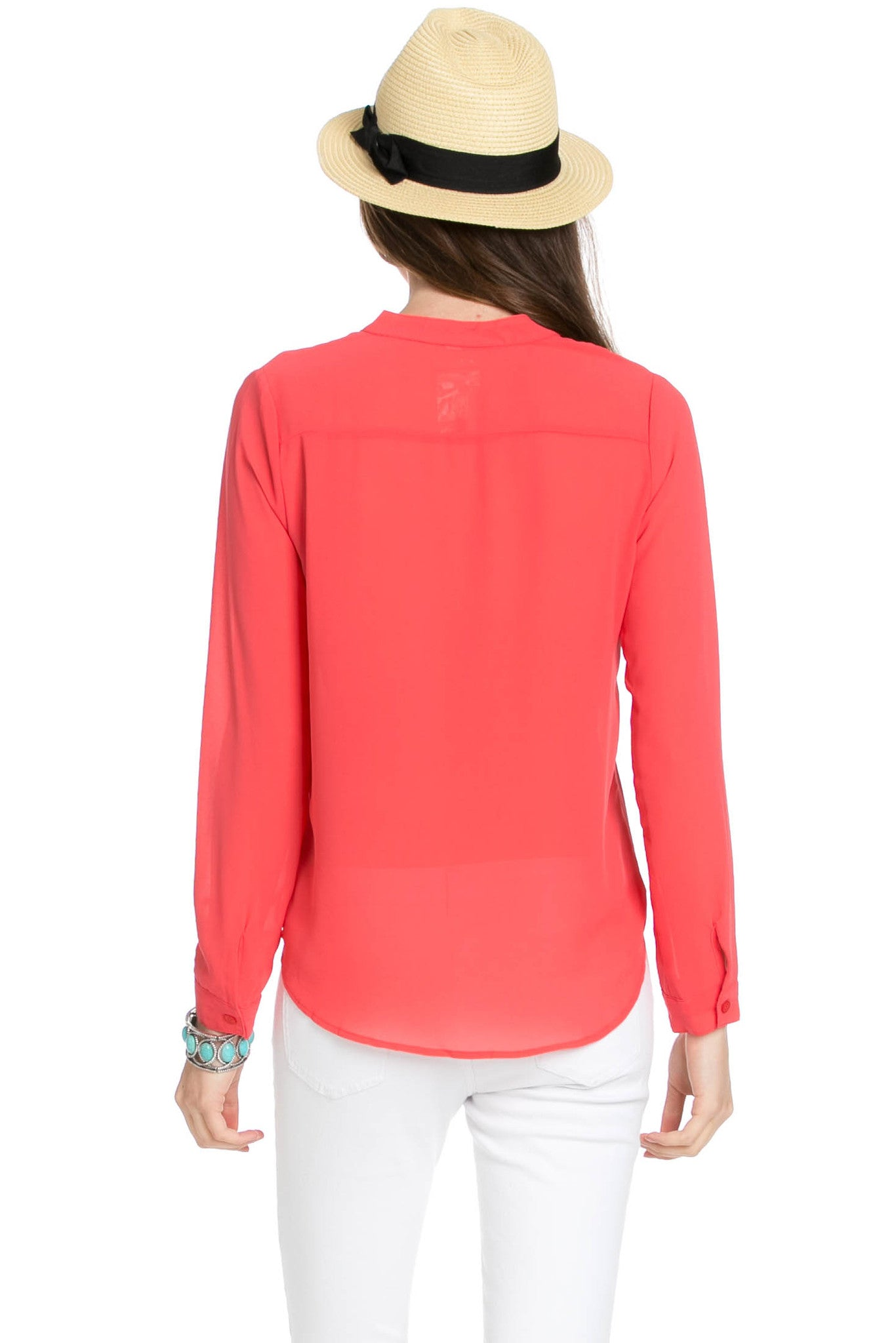 V-Neck Chiffon Blouse Coral - Tops - My Yuccie - 3