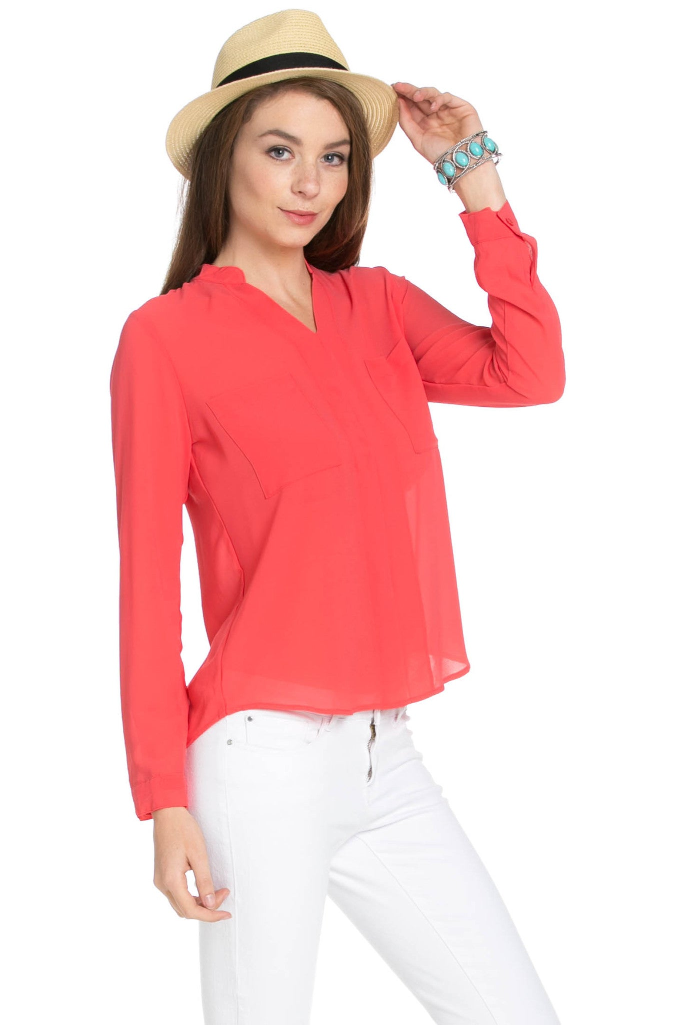 V-Neck Chiffon Blouse Coral - Tops - My Yuccie - 4