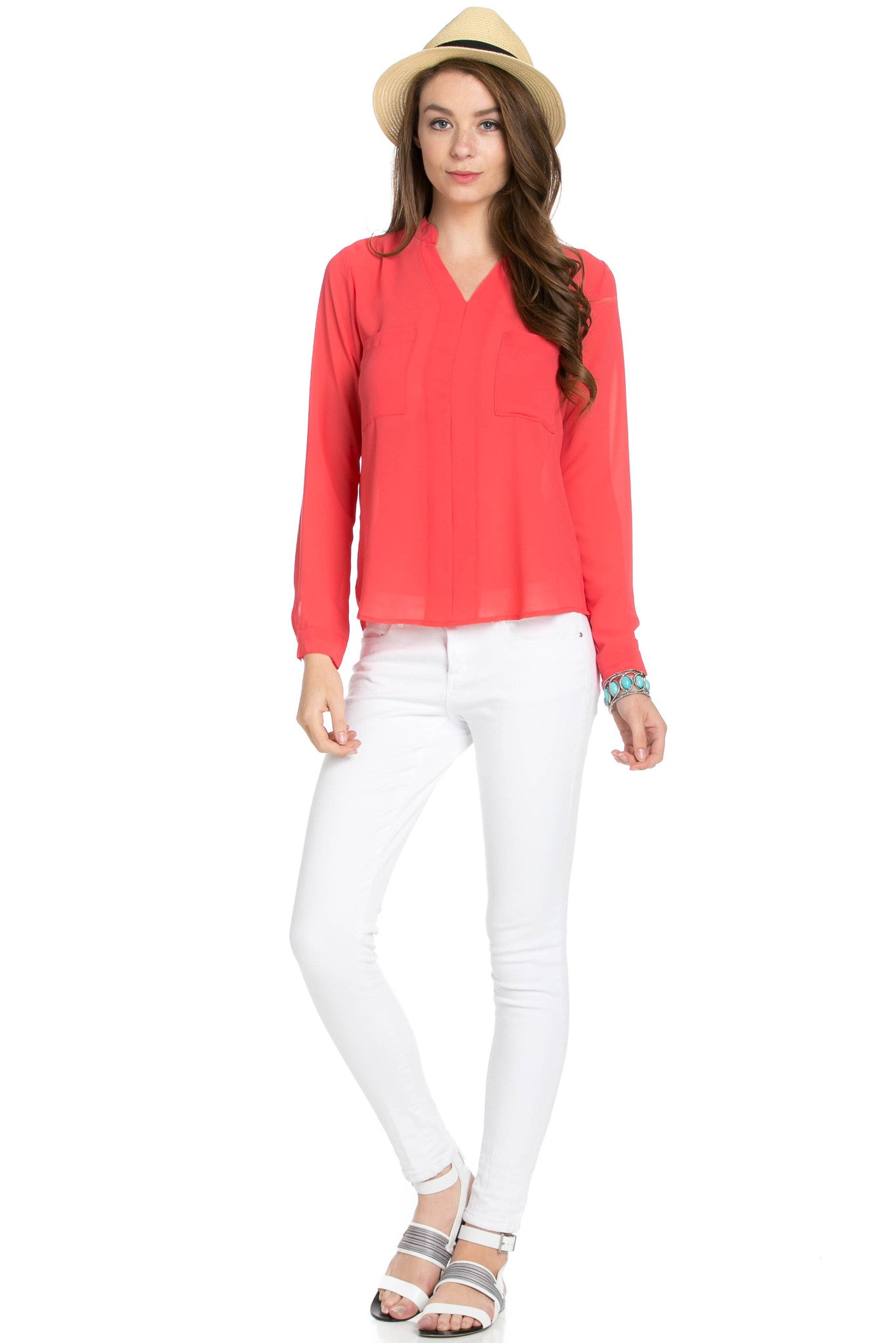 V-Neck Chiffon Blouse Coral - Tops - My Yuccie - 5