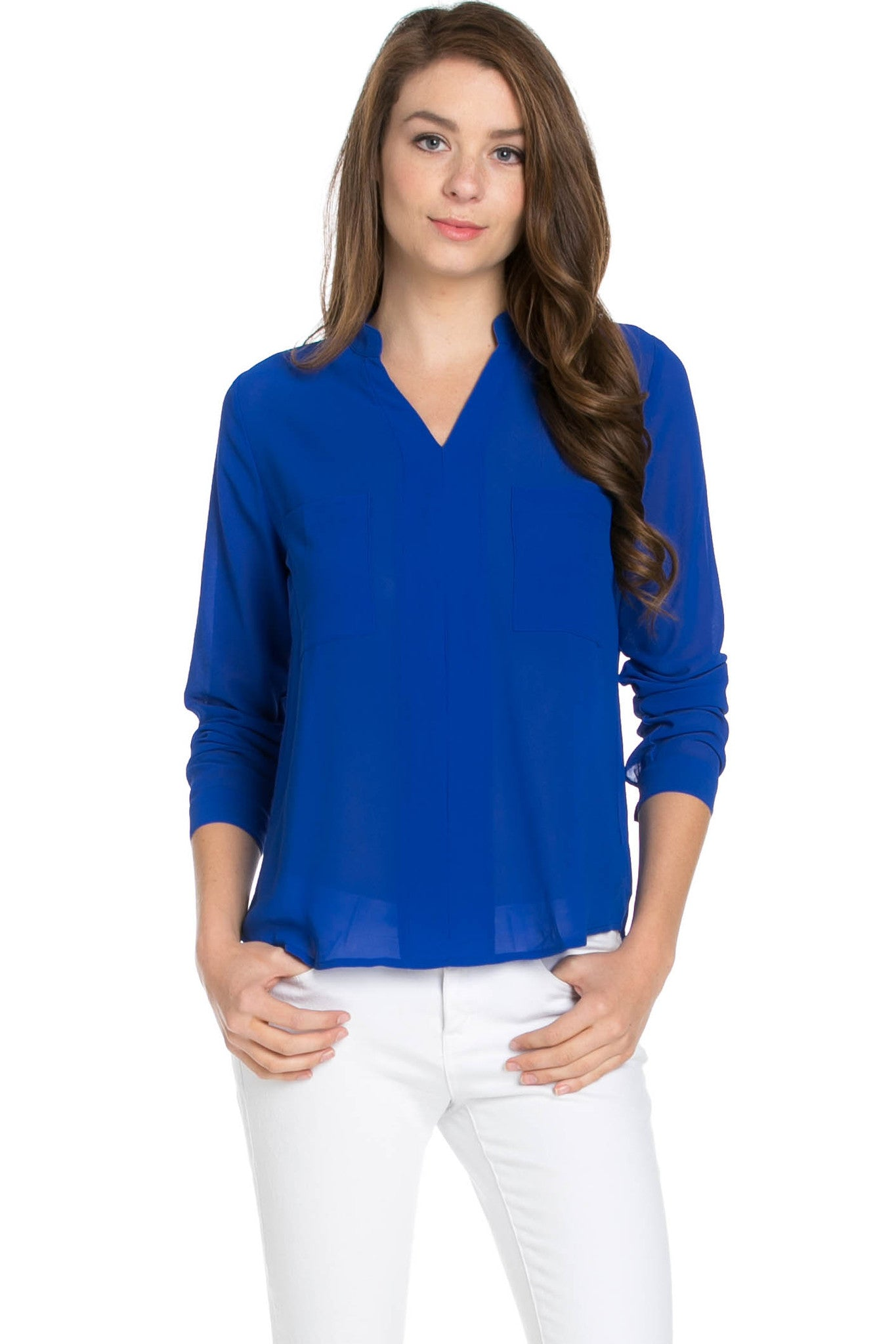 V-Neck Chiffon Blouse Dazzling Blue - Tops - My Yuccie - 1