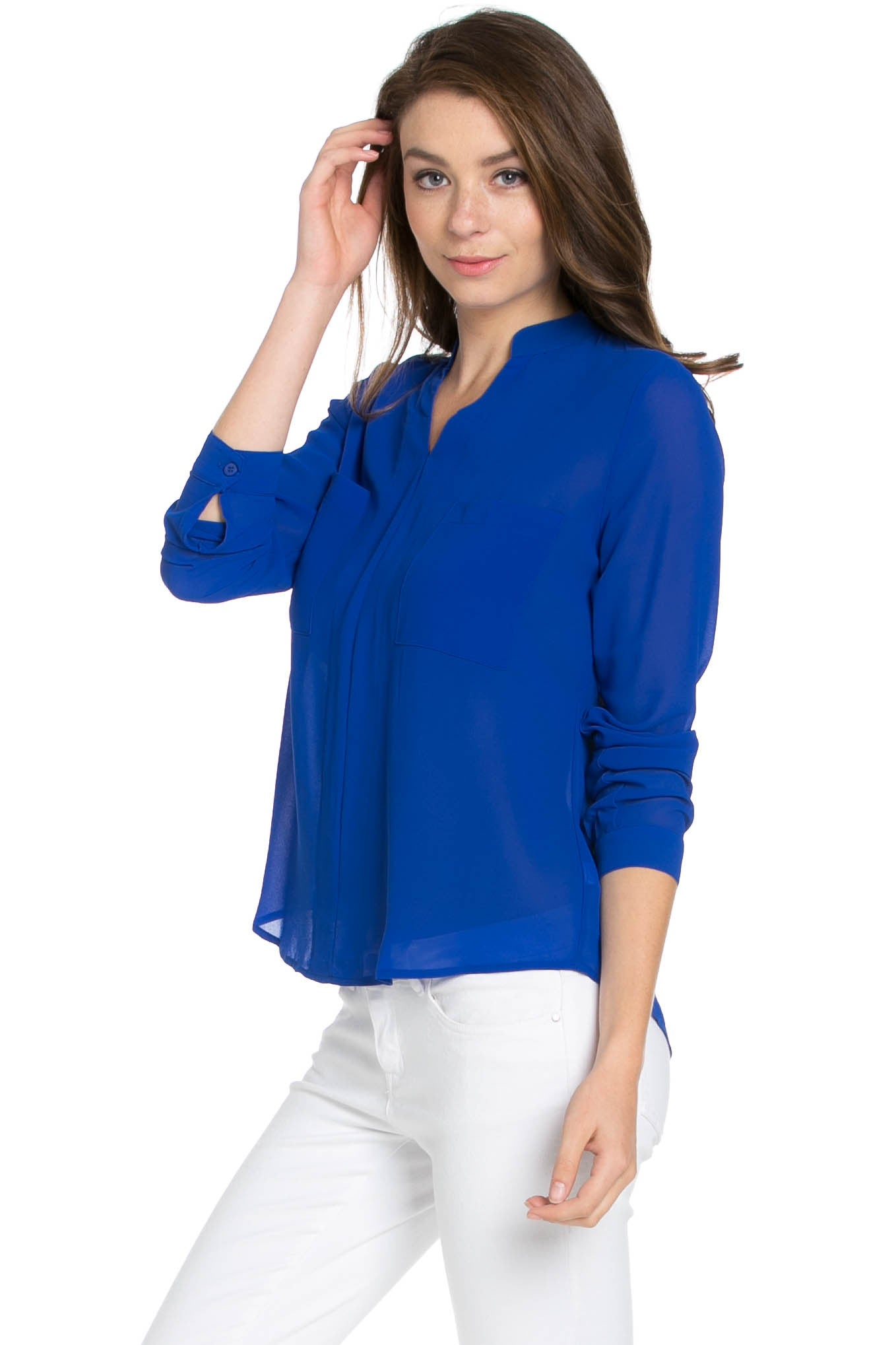 V-Neck Chiffon Blouse Dazzling Blue - Tops - My Yuccie - 2