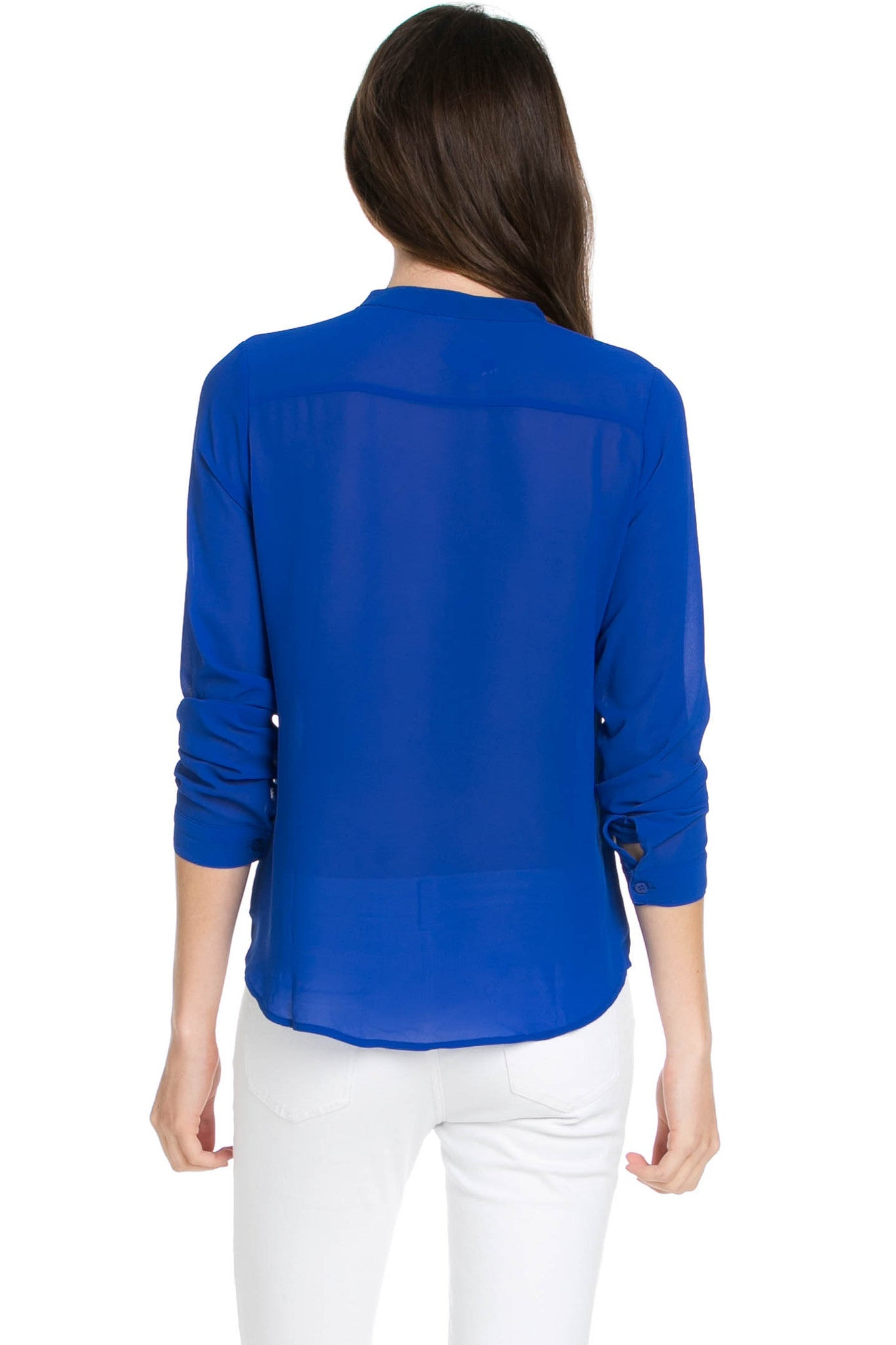 V-Neck Chiffon Blouse Dazzling Blue - Tops - My Yuccie - 3