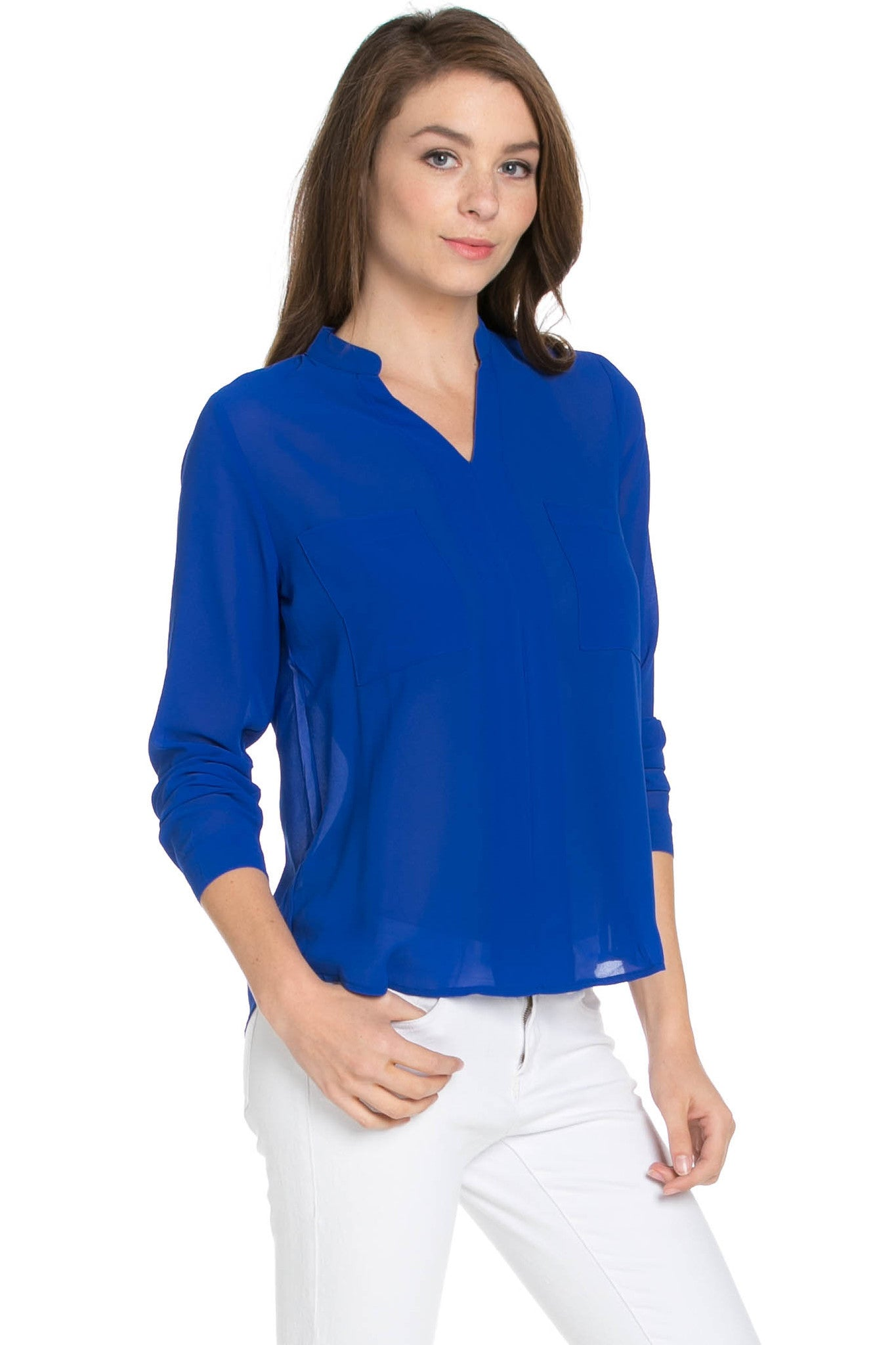 V-Neck Chiffon Blouse Dazzling Blue - Tops - My Yuccie - 4