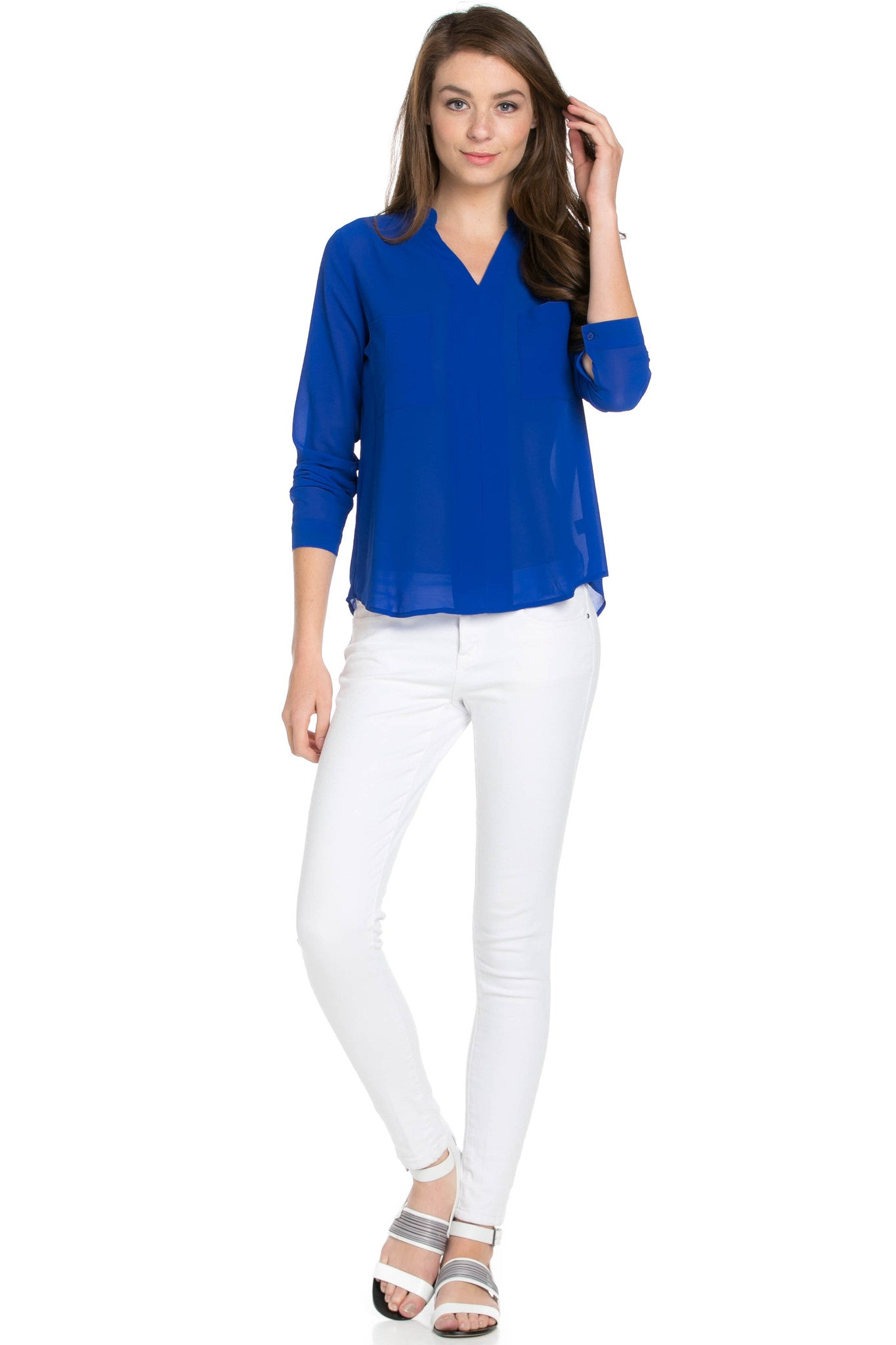 V-Neck Chiffon Blouse Dazzling Blue - Tops - My Yuccie - 5