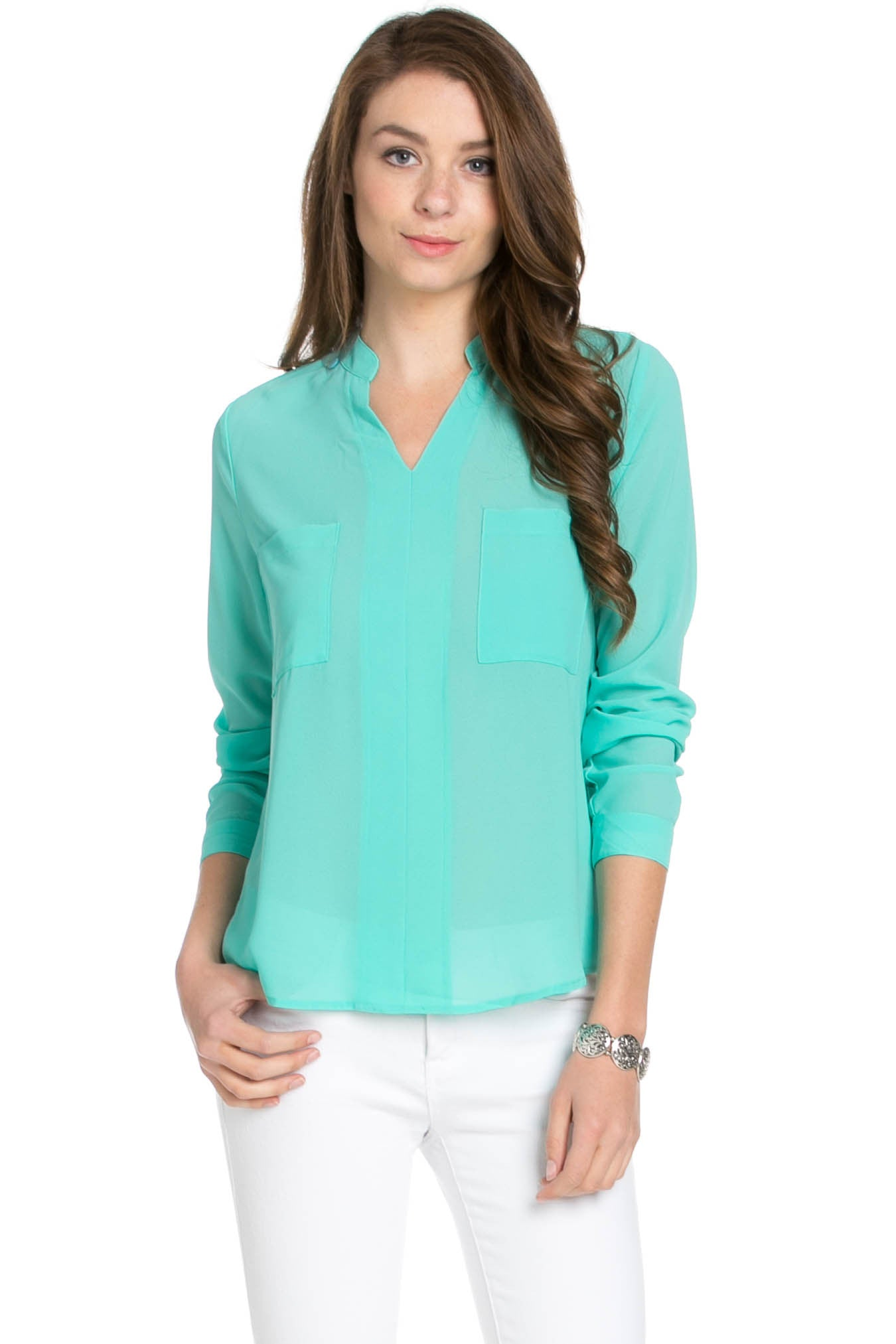 V-Neck Chiffon Blouse Mint - Tops - My Yuccie - 1