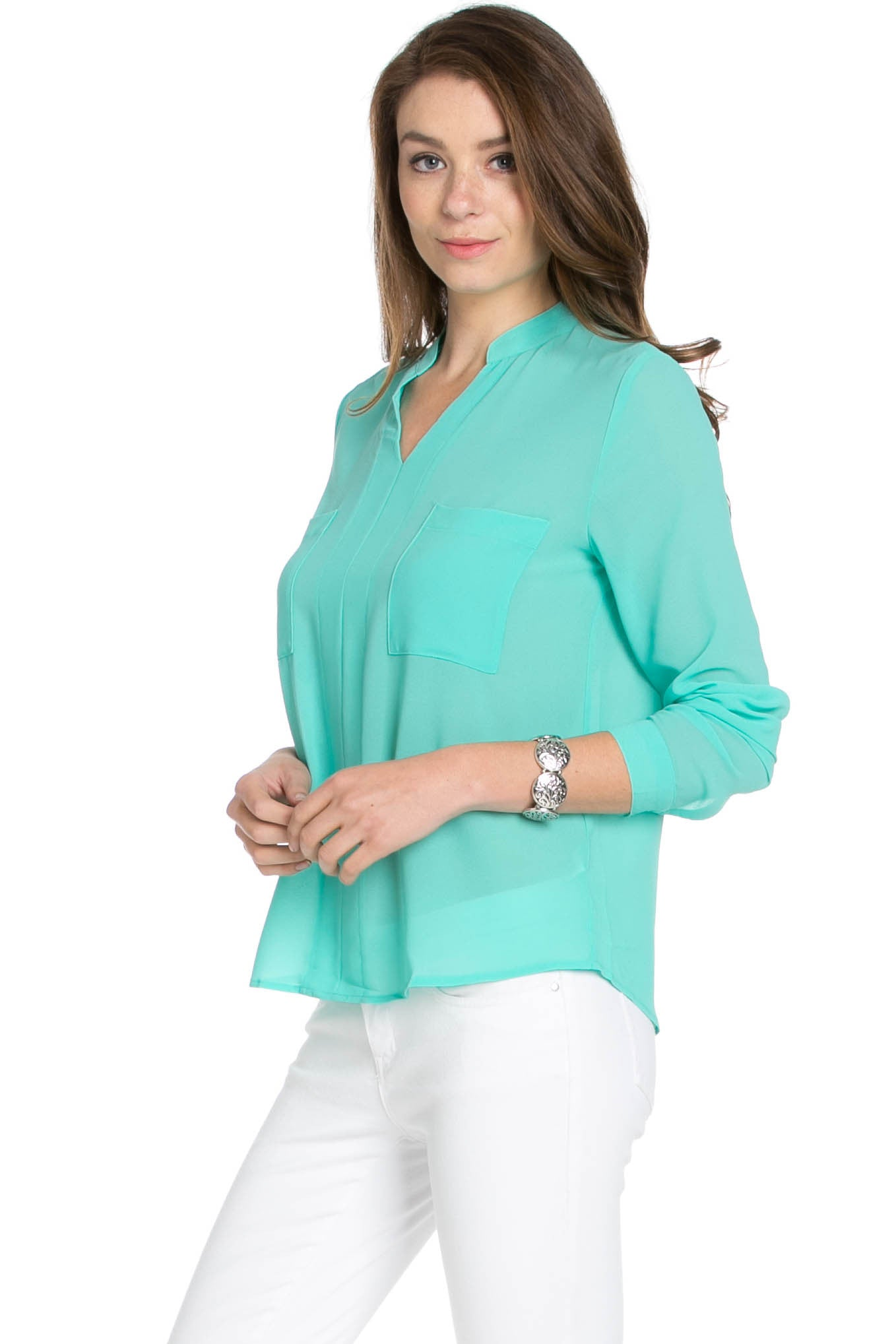 V-Neck Chiffon Blouse Mint - Tops - My Yuccie - 2
