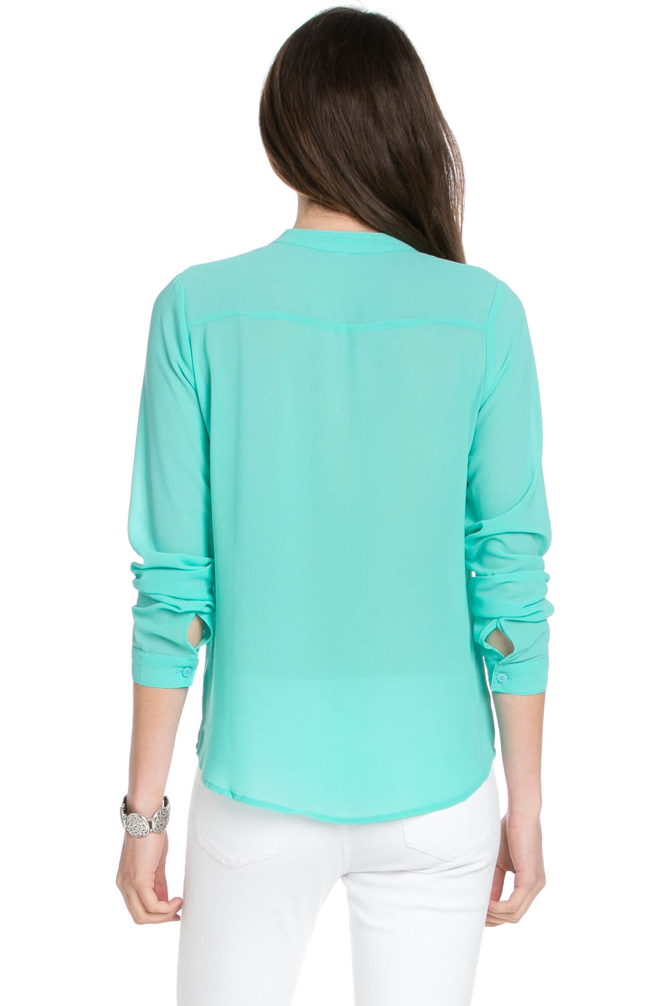 V-Neck Chiffon Blouse Mint - Tops - My Yuccie - 3