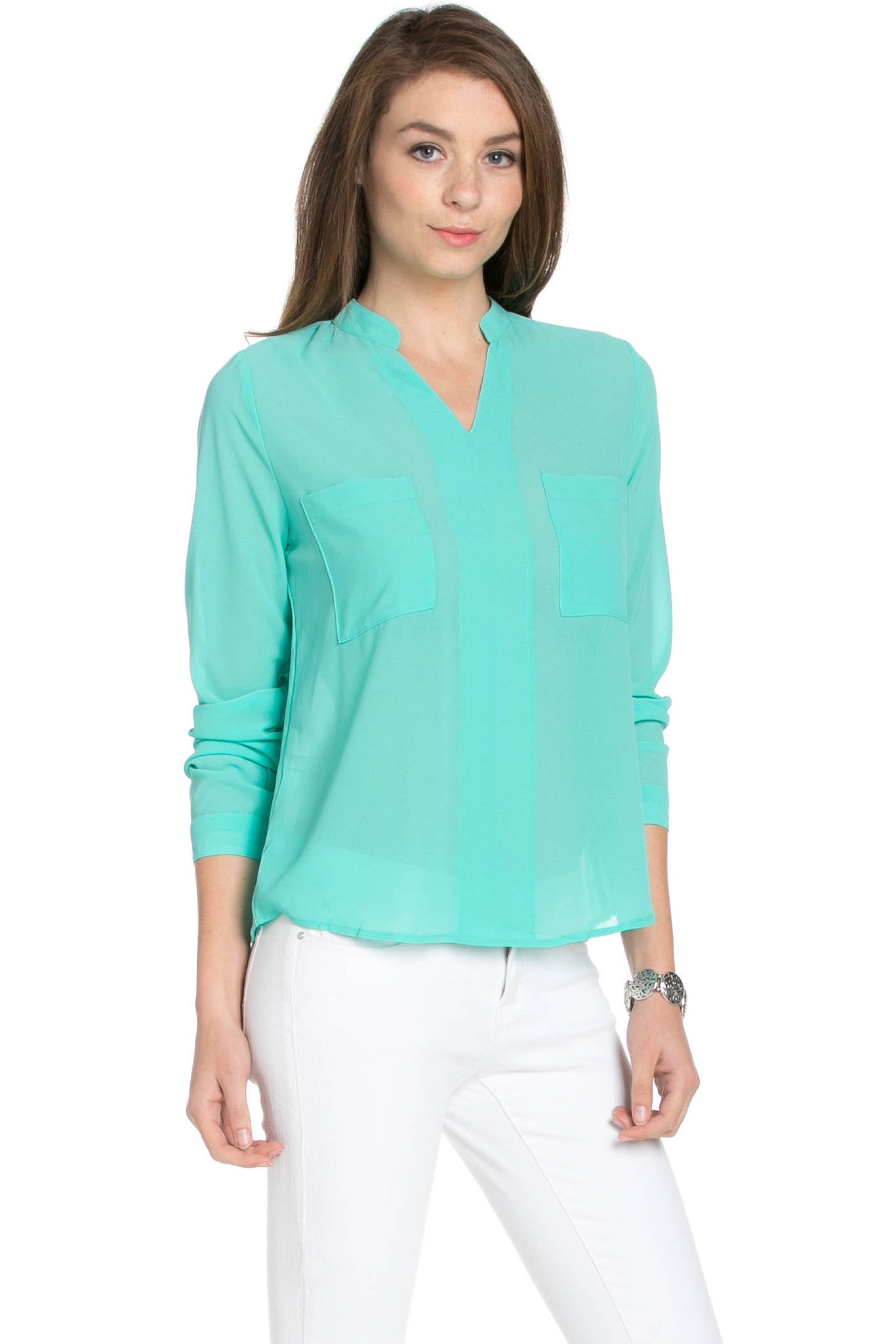 V-Neck Chiffon Blouse Mint - Tops - My Yuccie - 4
