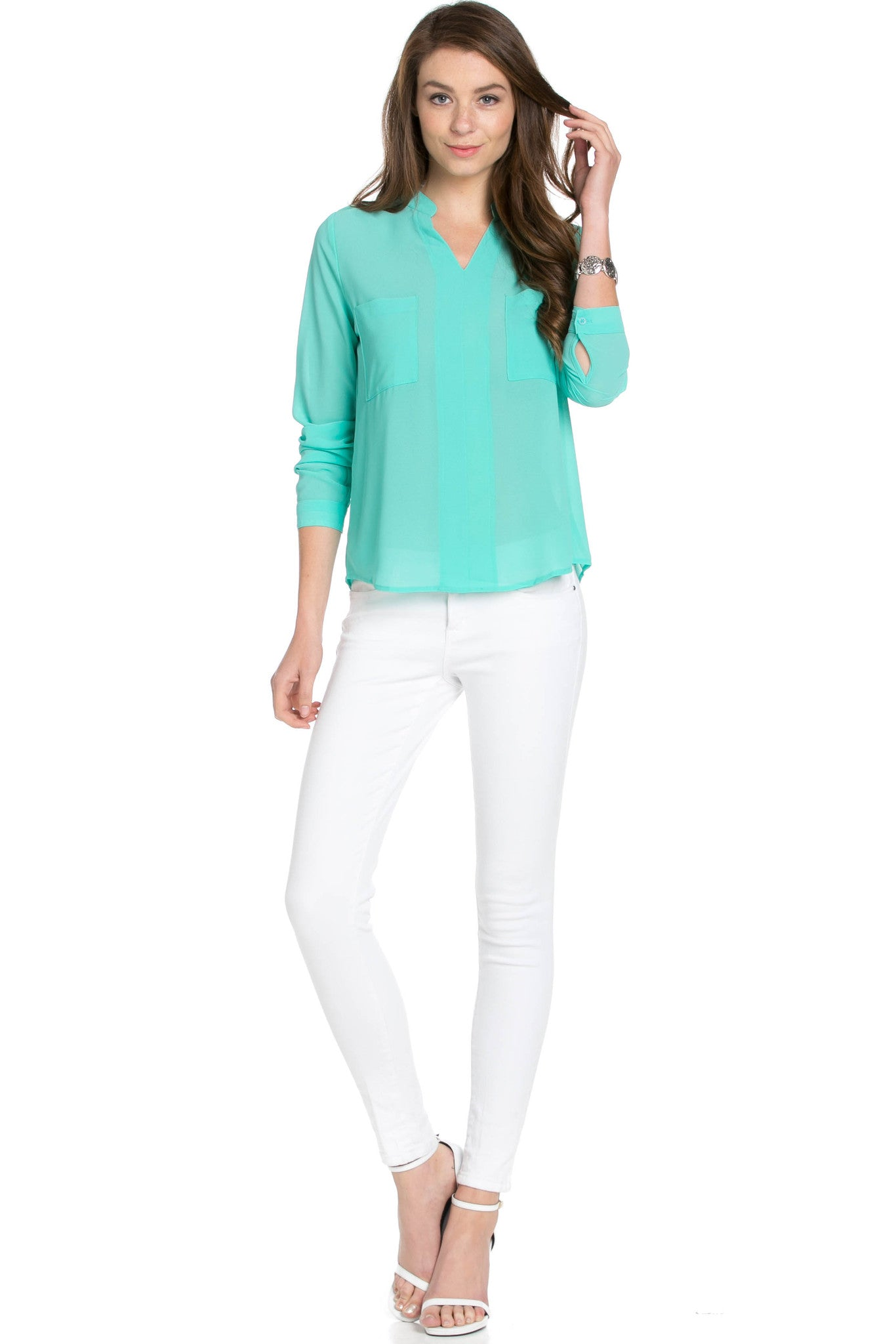 V-Neck Chiffon Blouse Mint - Tops - My Yuccie - 5