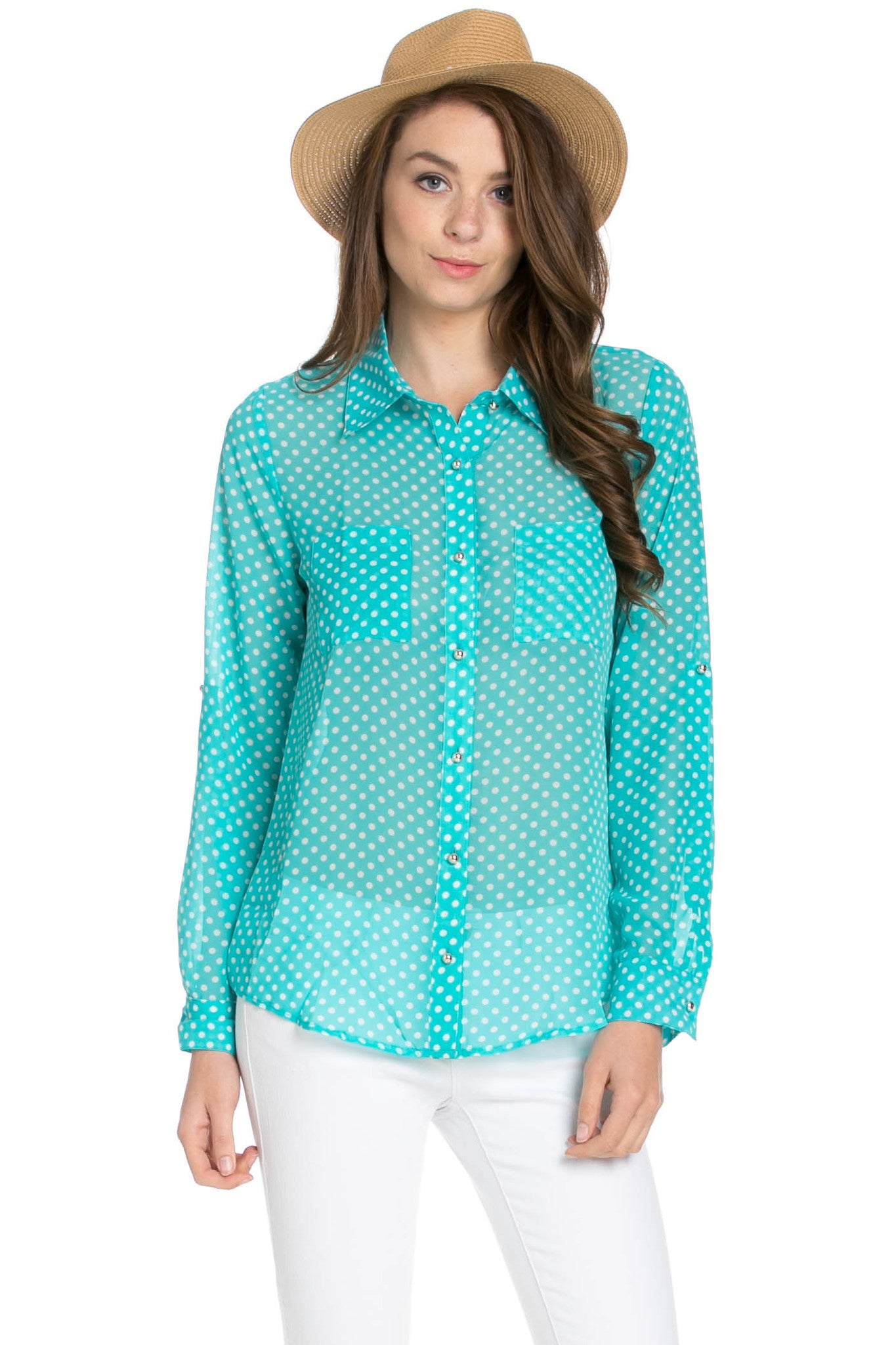 Polka Dot V-Neck Chiffon Blouse Mint - Tops - My Yuccie - 1