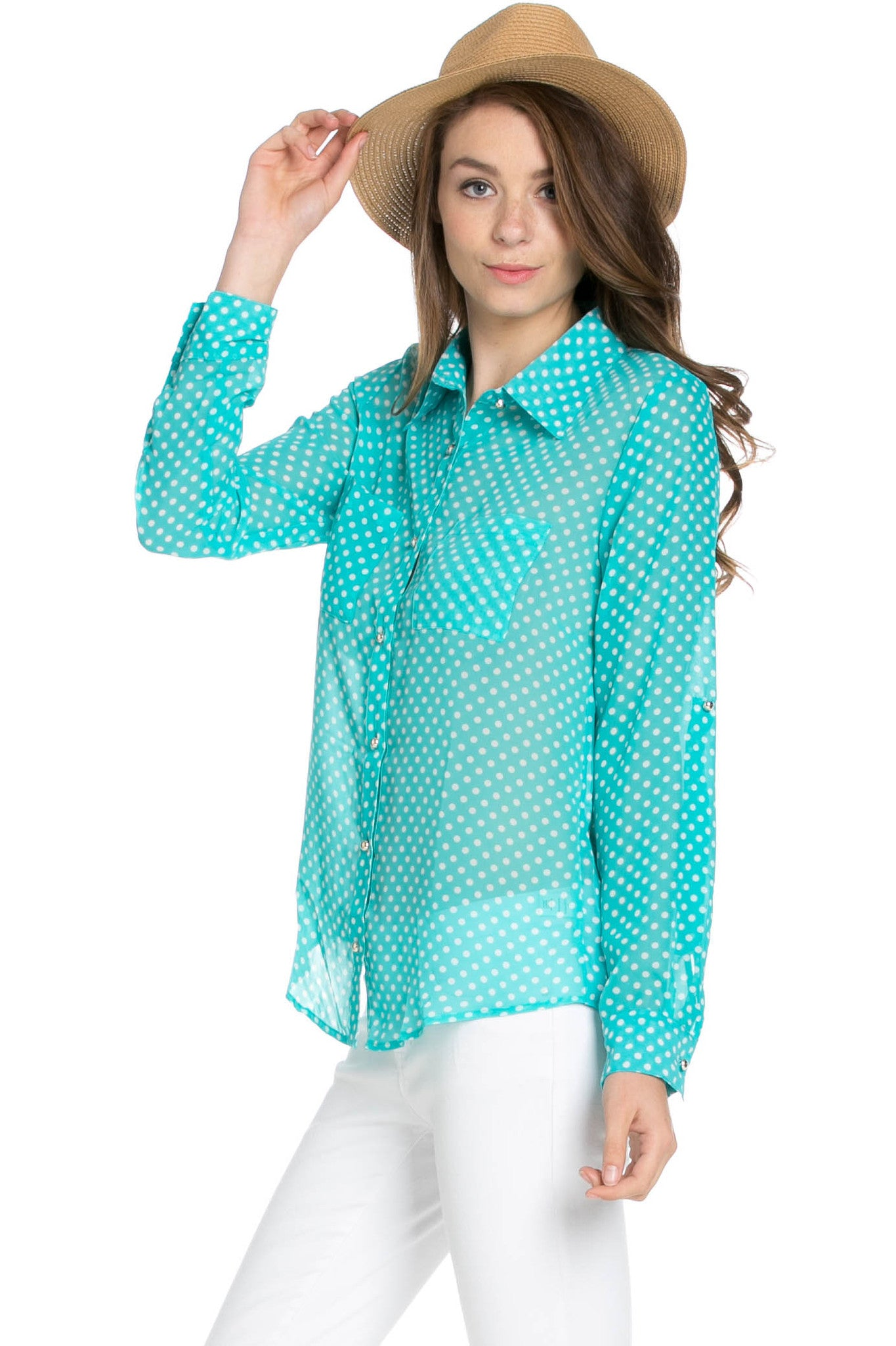 Polka Dot V-Neck Chiffon Blouse Mint - Tops - My Yuccie - 2