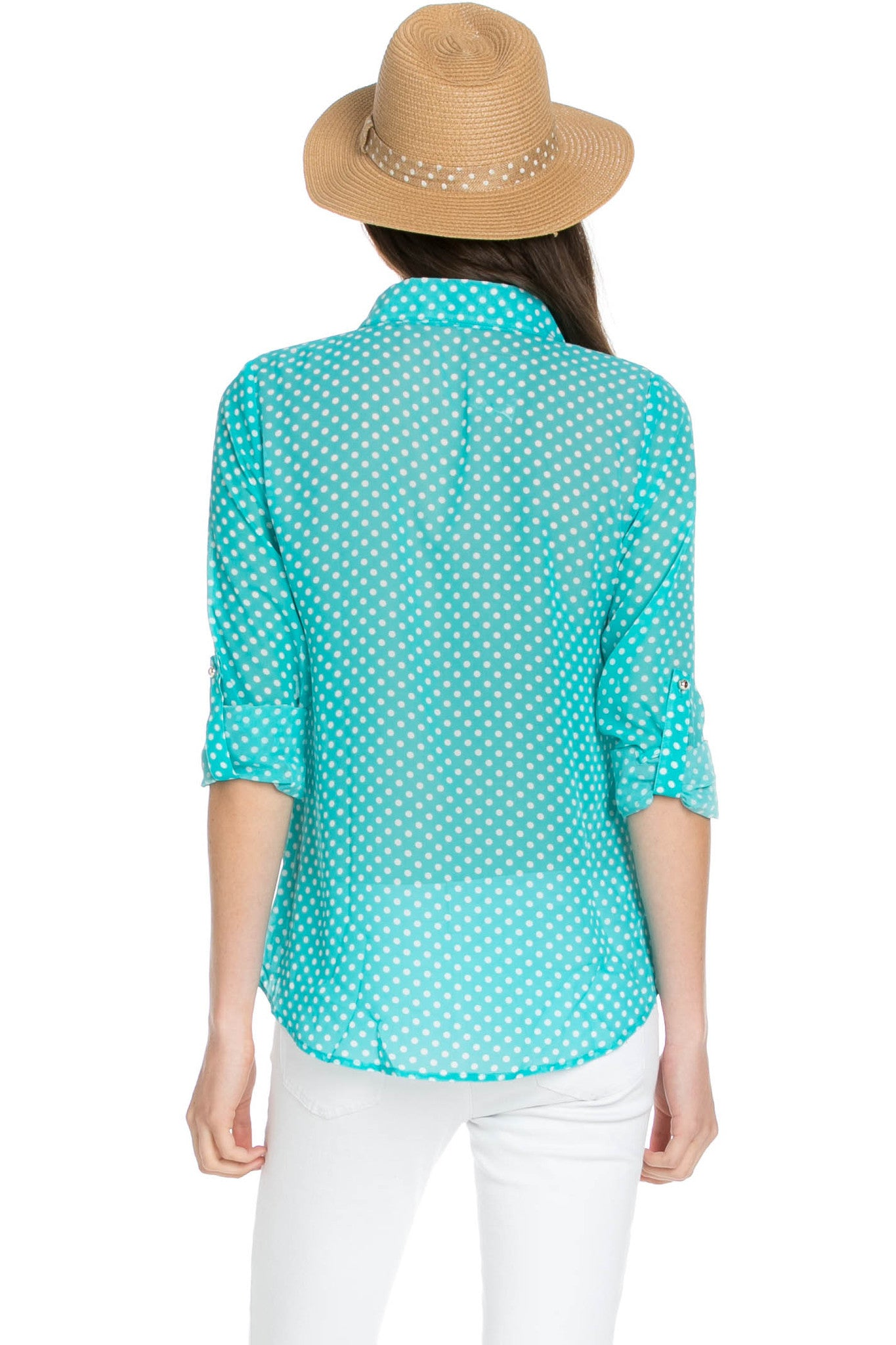 Polka Dot V-Neck Chiffon Blouse Mint - Tops - My Yuccie - 3