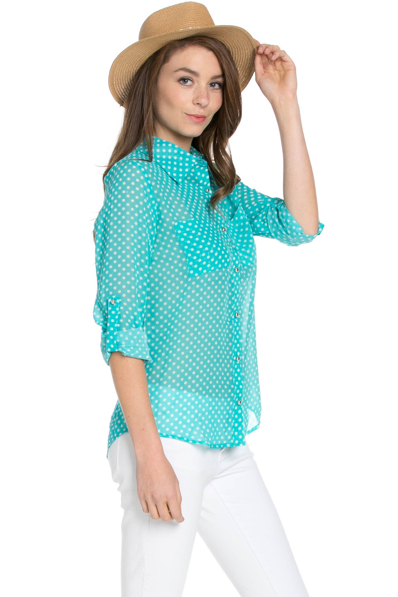 Polka Dot V-Neck Chiffon Blouse Mint - Tops - My Yuccie - 4