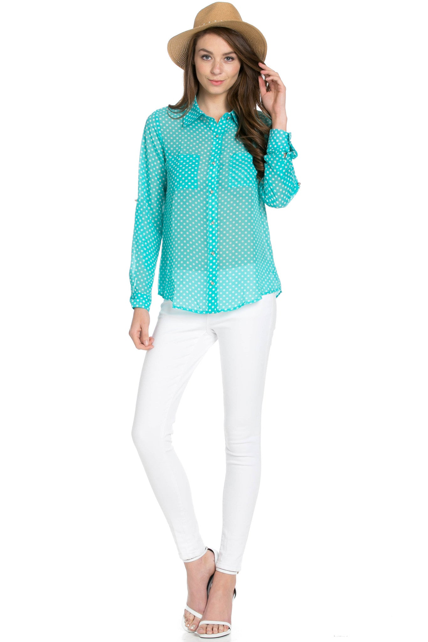 Polka Dot V-Neck Chiffon Blouse Mint - Tops - My Yuccie - 5