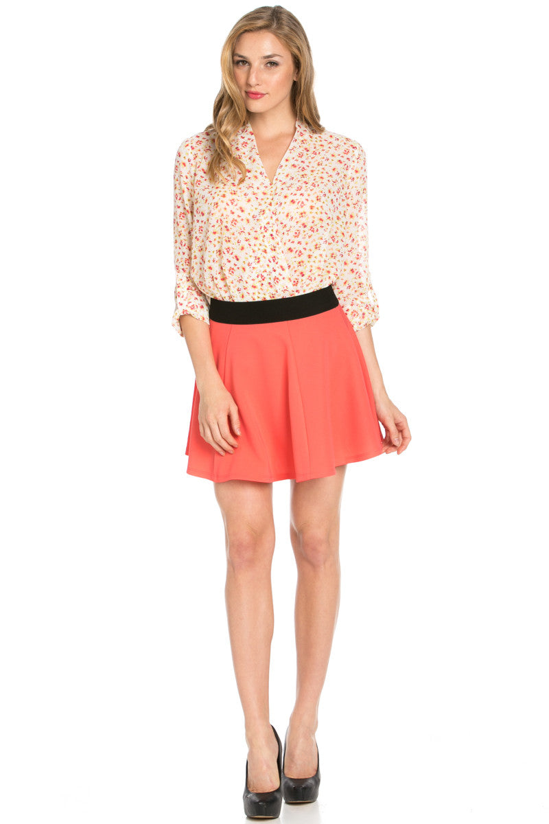 Micro Wafer Coral Skater Skirt - Skirts - My Yuccie - 7