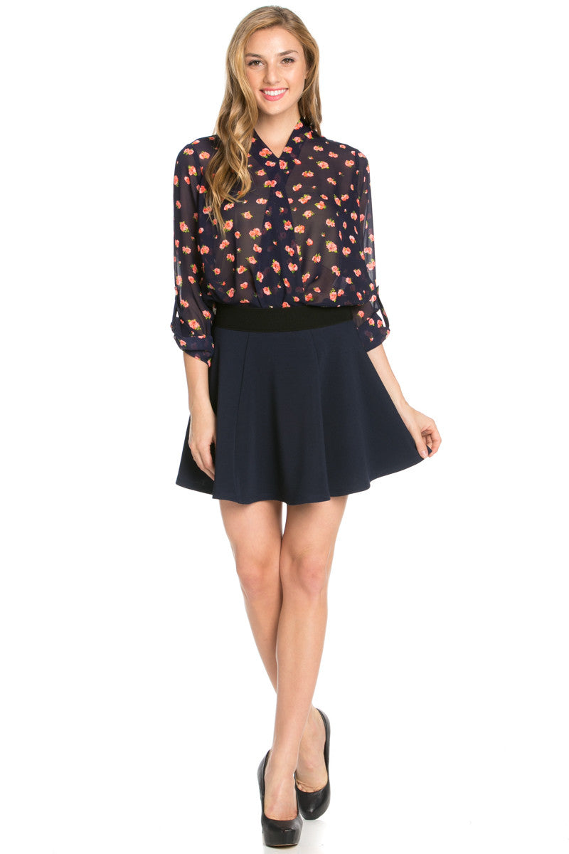 Micro Wafer Navy Skater Skirt - Skirts - My Yuccie - 7