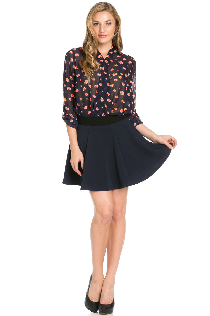 Micro Wafer Navy Skater Skirt - Skirts - My Yuccie - 8