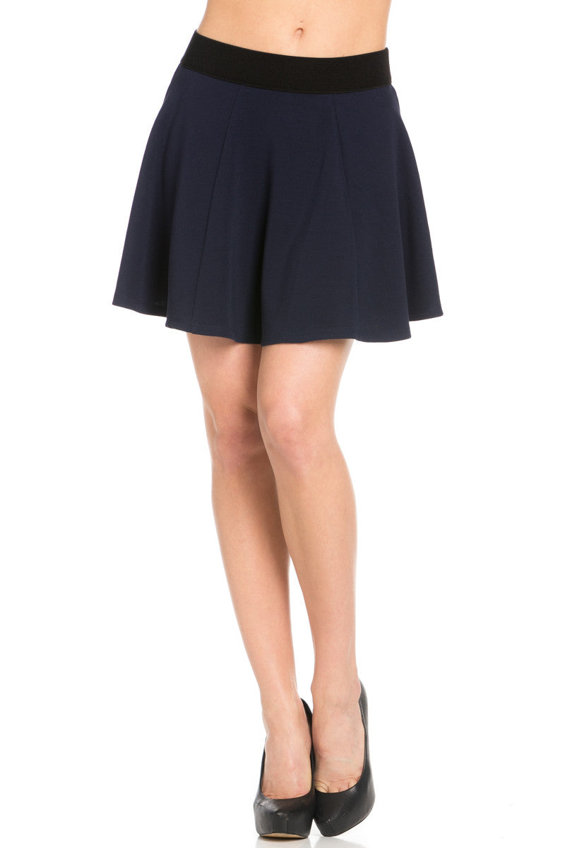 Micro Wafer Navy Skater Skirt - Skirts - My Yuccie - 1