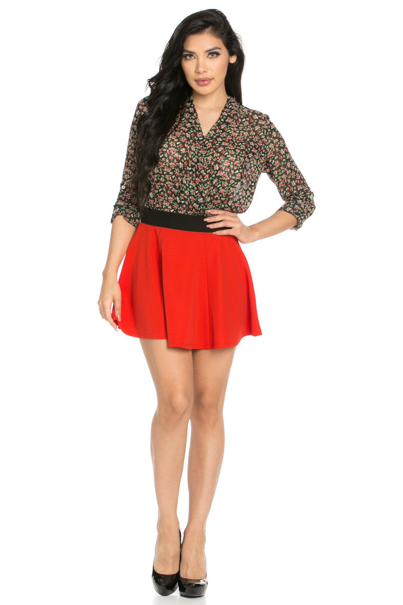 Micro Wafer Red Mini Skater Skirt - Skirts - My Yuccie - 6