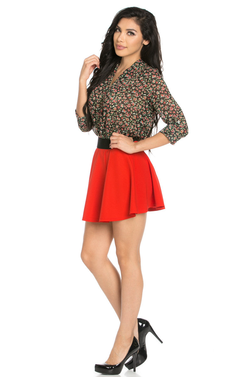 Micro Wafer Red Mini Skater Skirt - Skirts - My Yuccie - 7