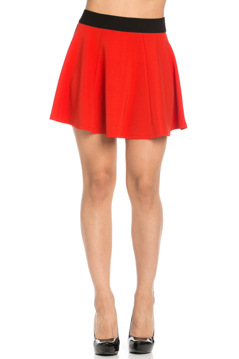 Micro Wafer Red Mini Skater Skirt - Skirts - My Yuccie - 1