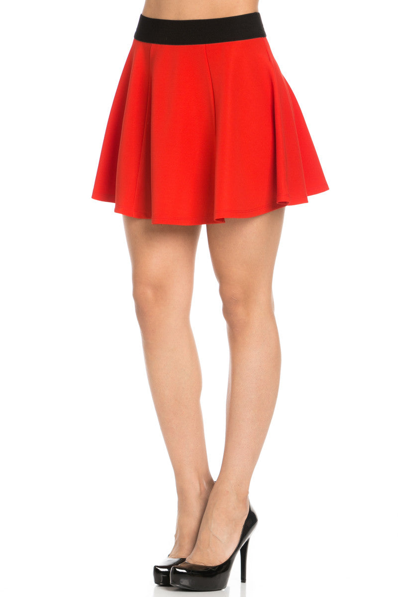 Micro Wafer Red Mini Skater Skirt - Skirts - My Yuccie - 2