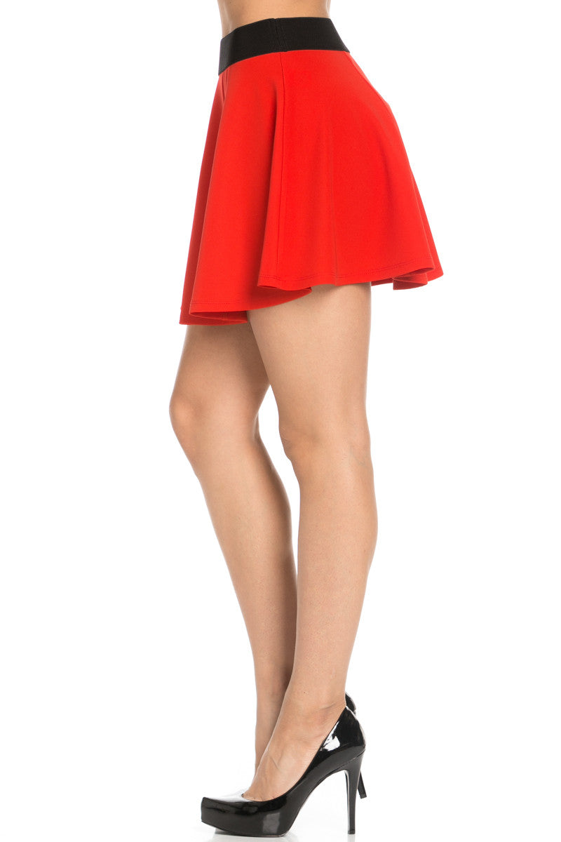 Micro Wafer Red Mini Skater Skirt - Skirts - My Yuccie - 3