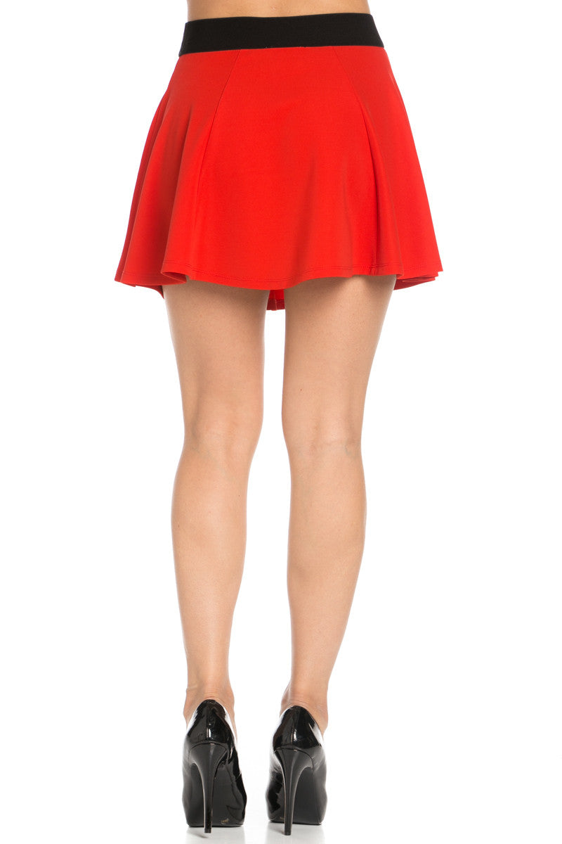 Micro Wafer Red Mini Skater Skirt - Skirts - My Yuccie - 4